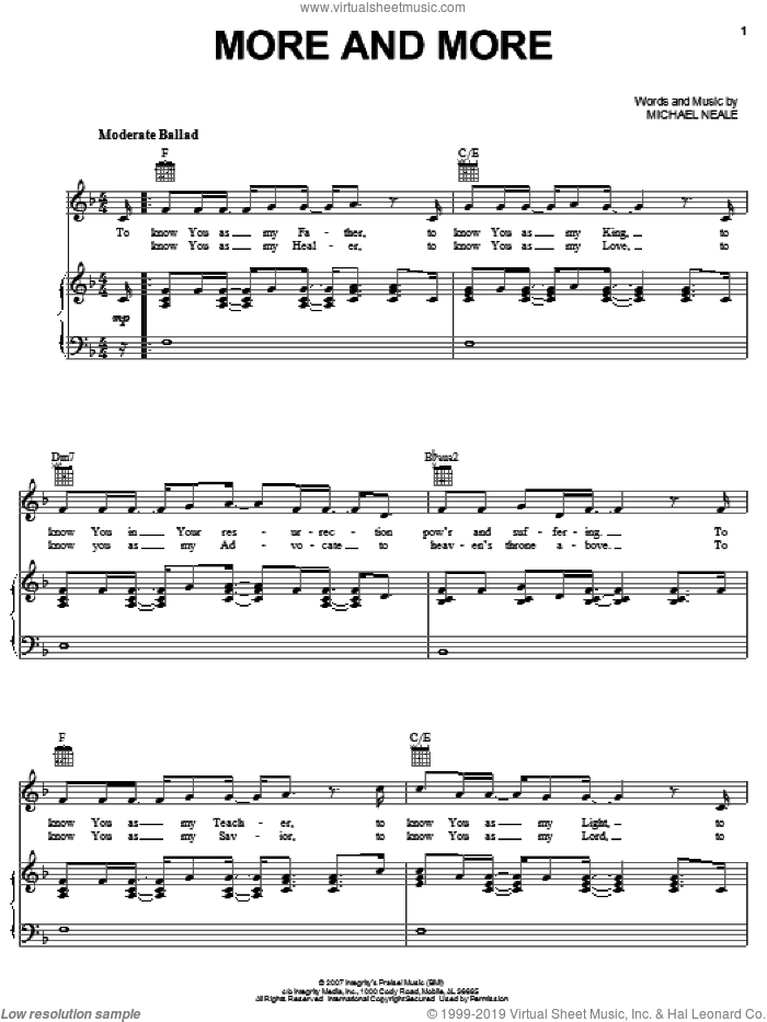 More And More sheet music for voice, piano or guitar by Michael Neale, intermediate. Score Image Preview.