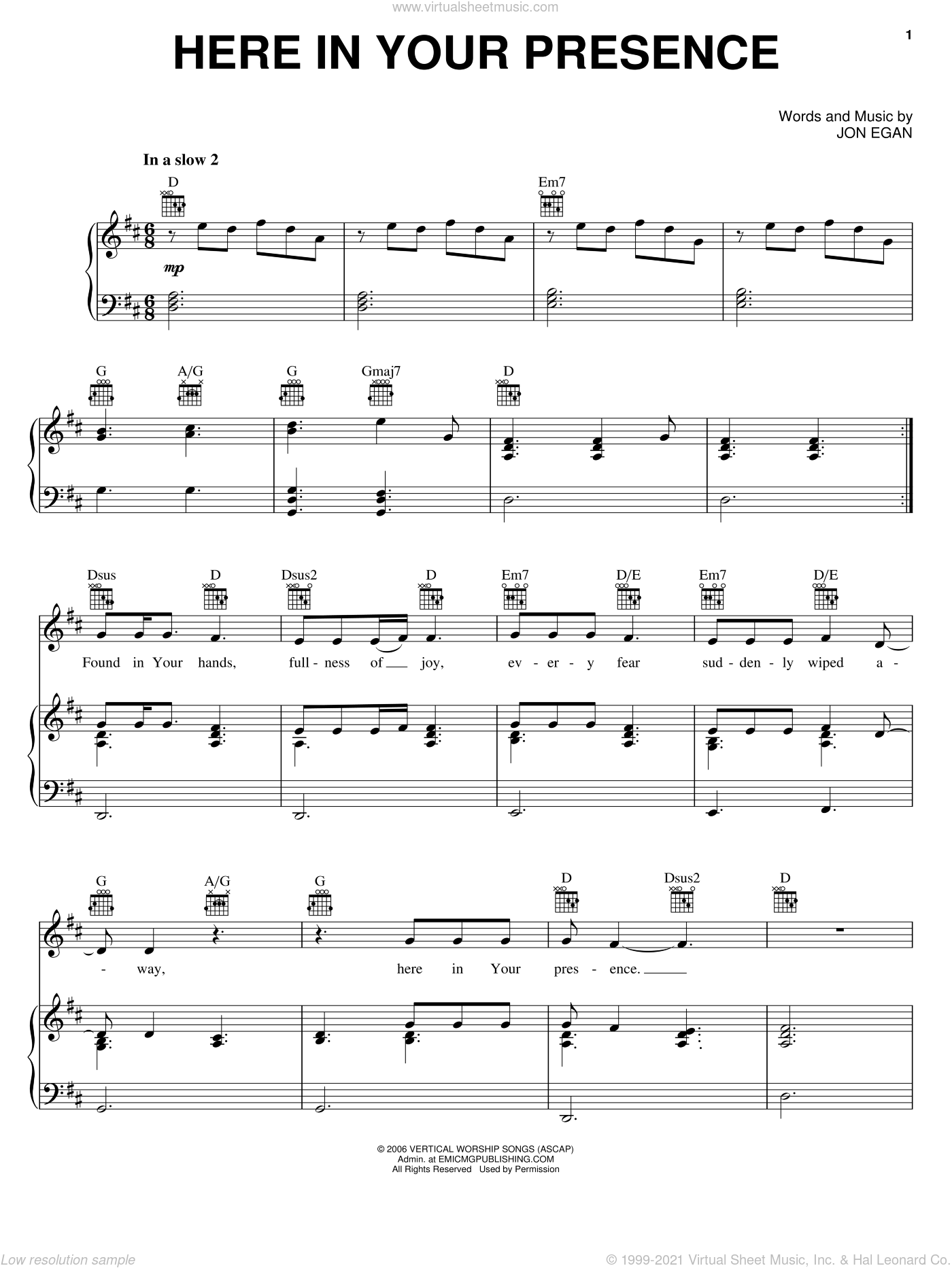 Here In Your Presence sheet music for voice, piano or guitar by New Life Worship and Jon Egan, intermediate skill level