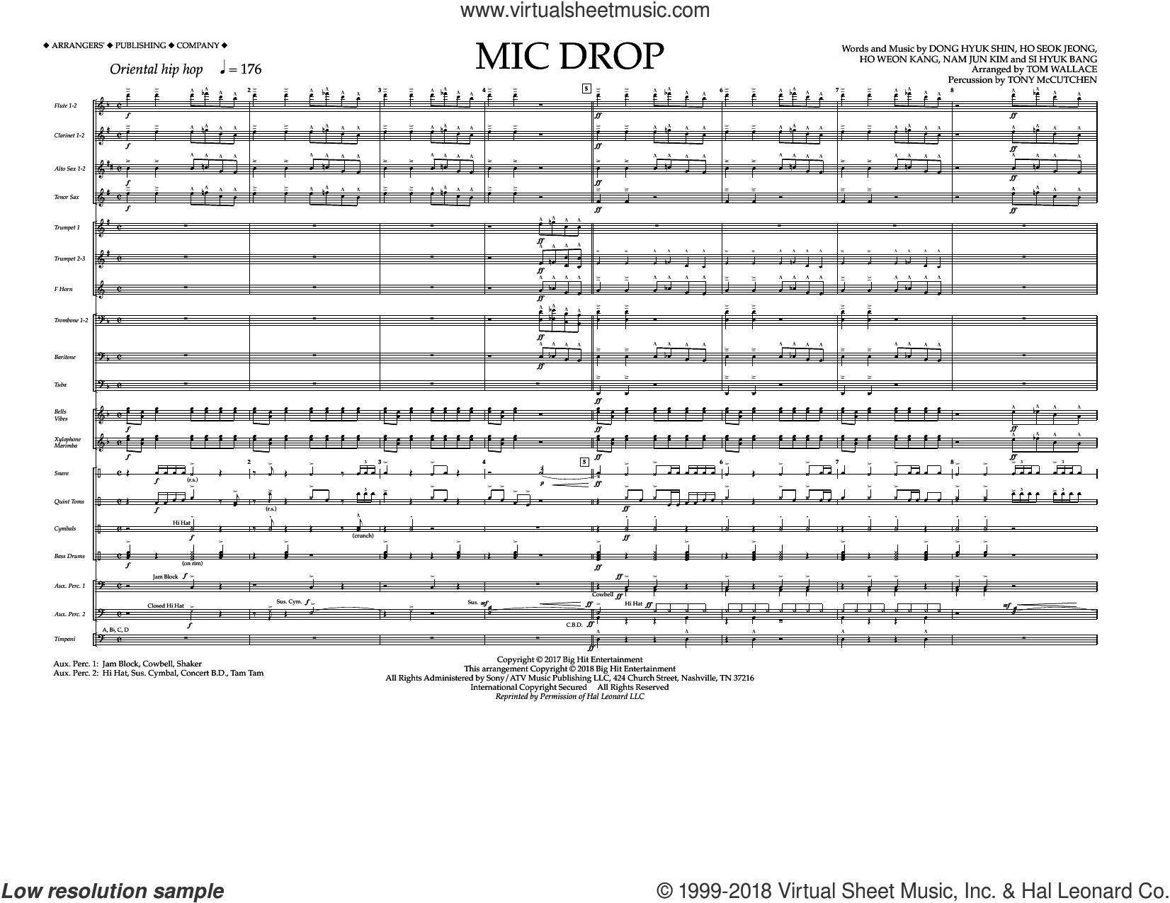 Mic Drop (COMPLETE) sheet music for marching band by Tom Wallace, BTS, Dong Hyuk Shin, Ho Seok Jeong, Ho Weon Kang, Nam Jun Kim and Si Hyuk Bang, intermediate skill level