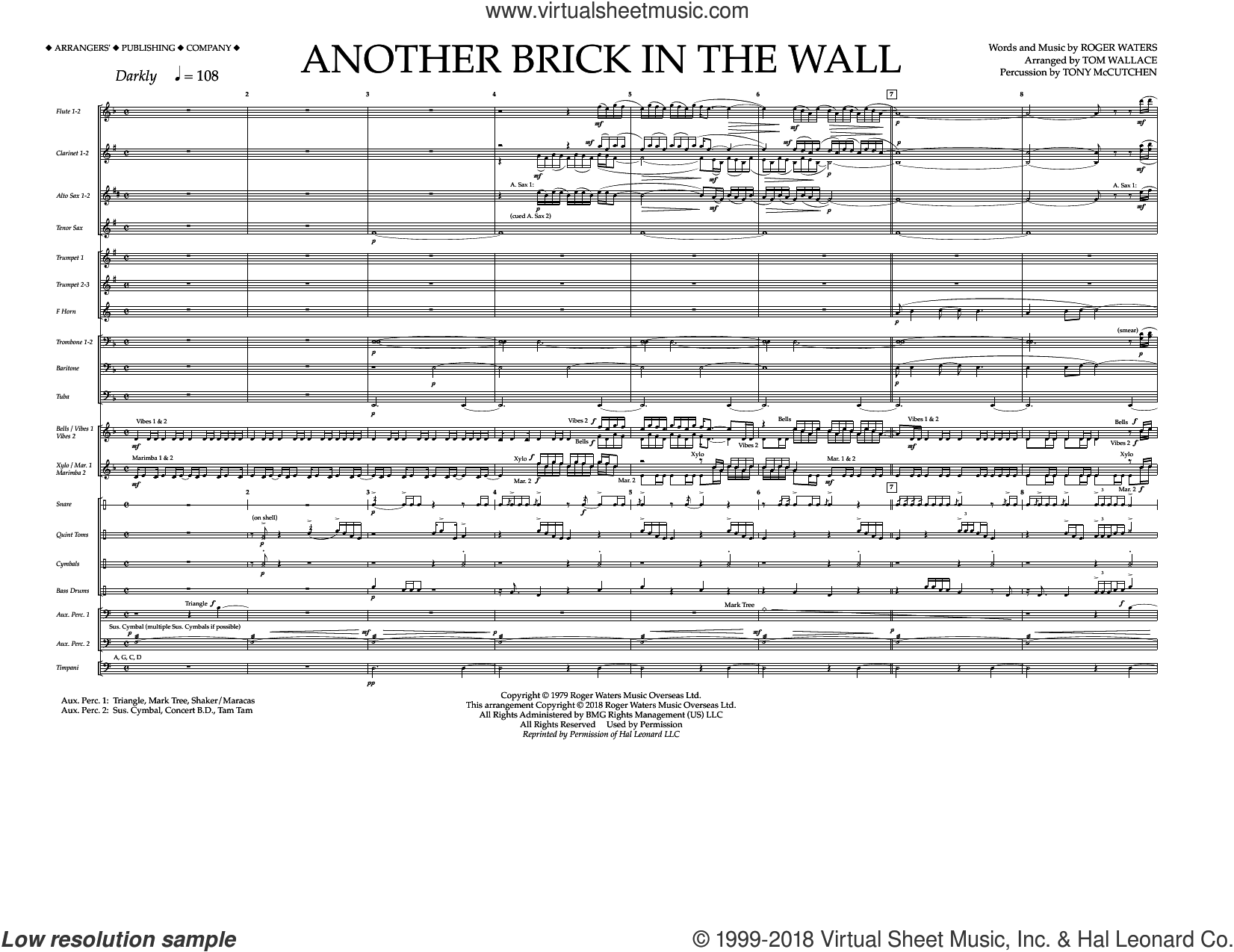 Another Brick in the Wall (COMPLETE) sheet music for marching band by Pink Floyd, Roger Waters and Tom Wallace, intermediate skill level