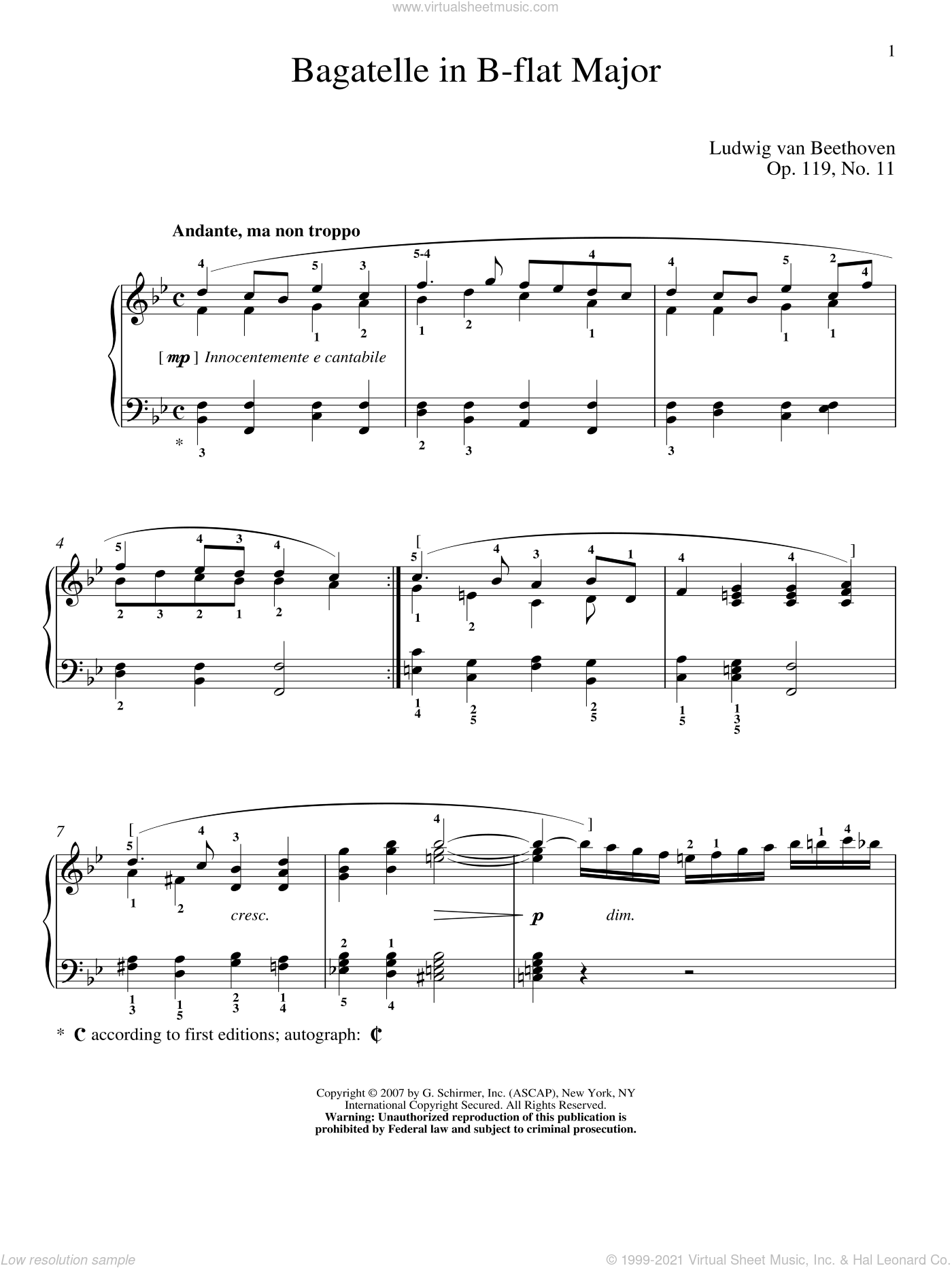 Bagatelle In B-flat Major, Op. 119, No. 11 sheet music for piano solo by Ludwig van Beethoven and Matthew Edwards, classical score, intermediate skill level