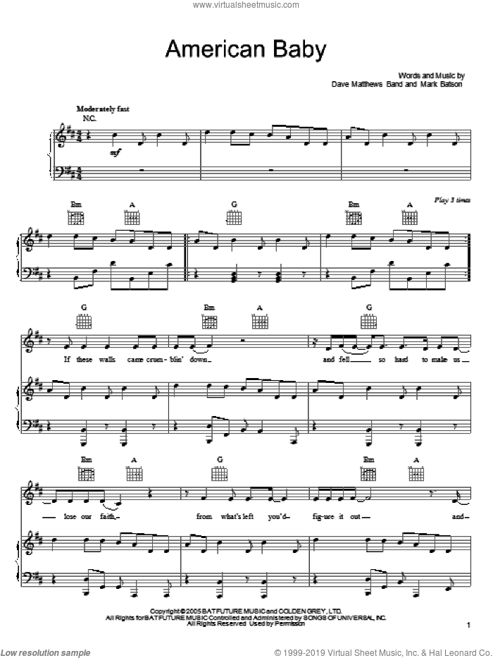 American Baby sheet music for voice, piano or guitar by Dave Matthews Band and Mark Batson. Score Image Preview.