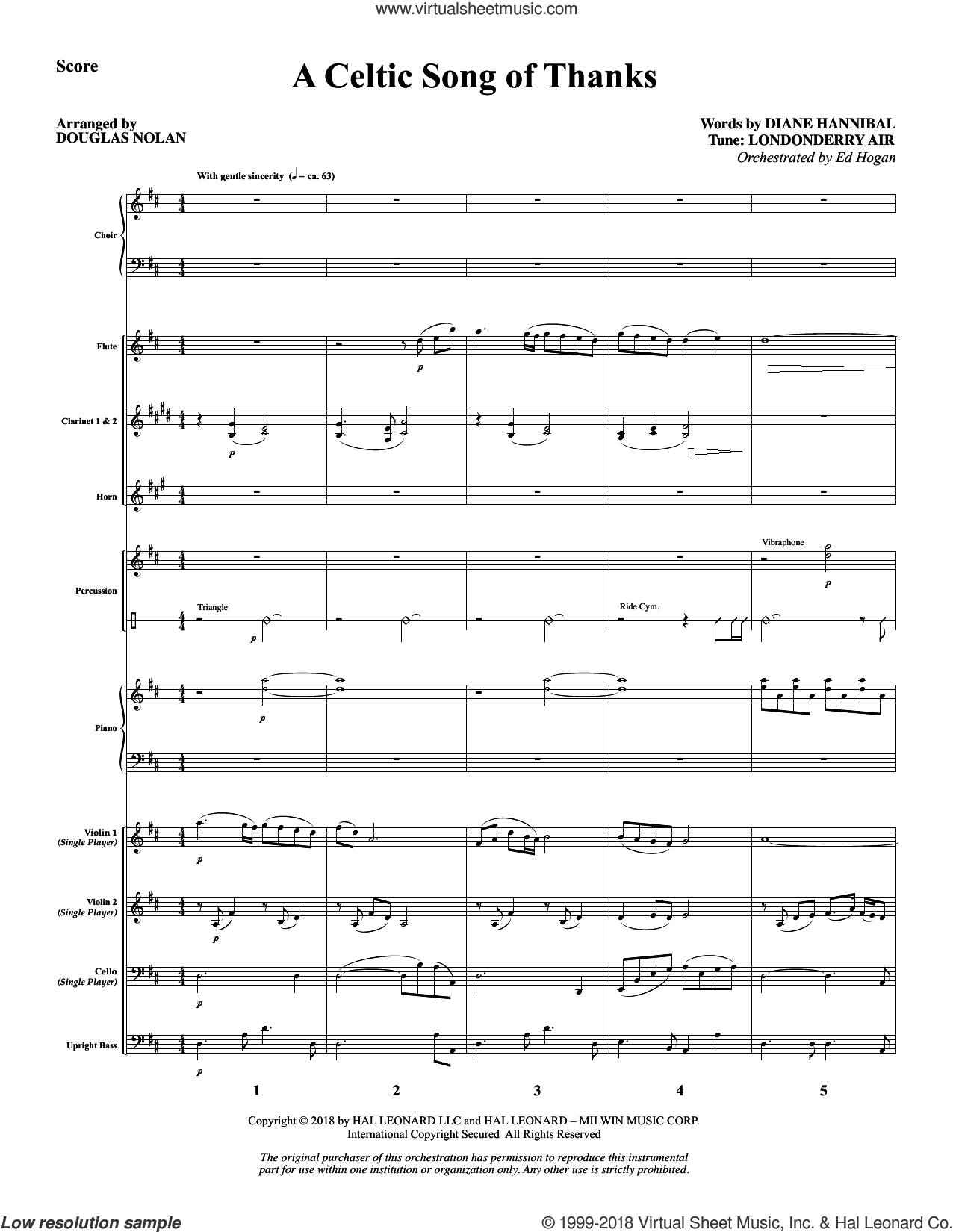 A Celtic Song of Thanks (COMPLETE) sheet music for orchestra/band by Douglas Nolan, Diane Hannibal and Londonderry Air, intermediate skill level