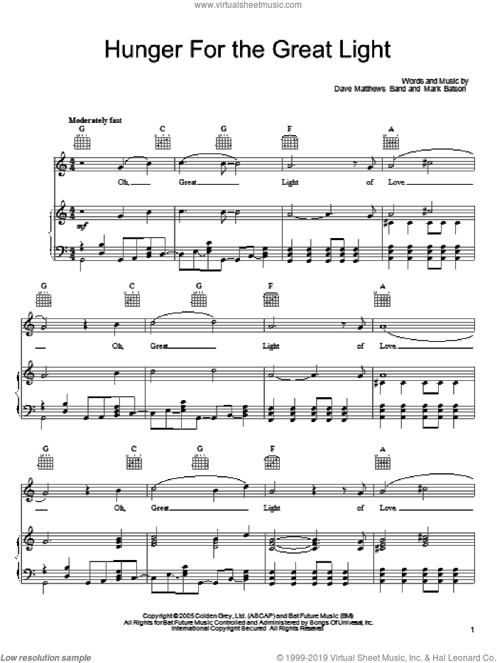 Hunger For The Great Light sheet music for voice, piano or guitar by Mark Batson and Dave Matthews Band. Score Image Preview.