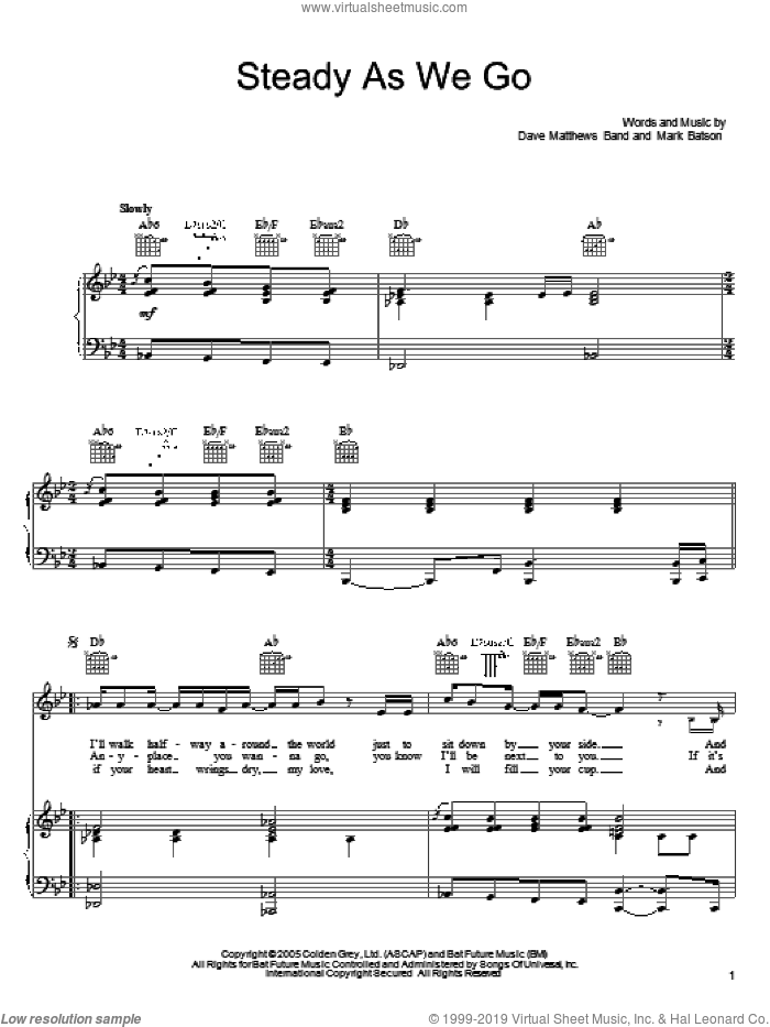 Steady As We Go sheet music for voice, piano or guitar by Dave Matthews Band and Mark Batson, intermediate voice, piano or guitar. Score Image Preview.