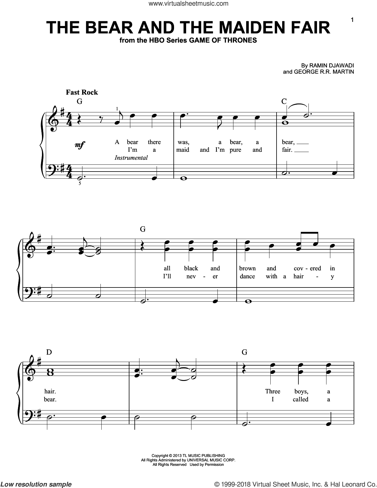 The Bear And The Maiden Fair (from Game of Thrones) sheet music for piano solo by Ramin Djawadi and George R.R. Martin, classical score, easy skill level