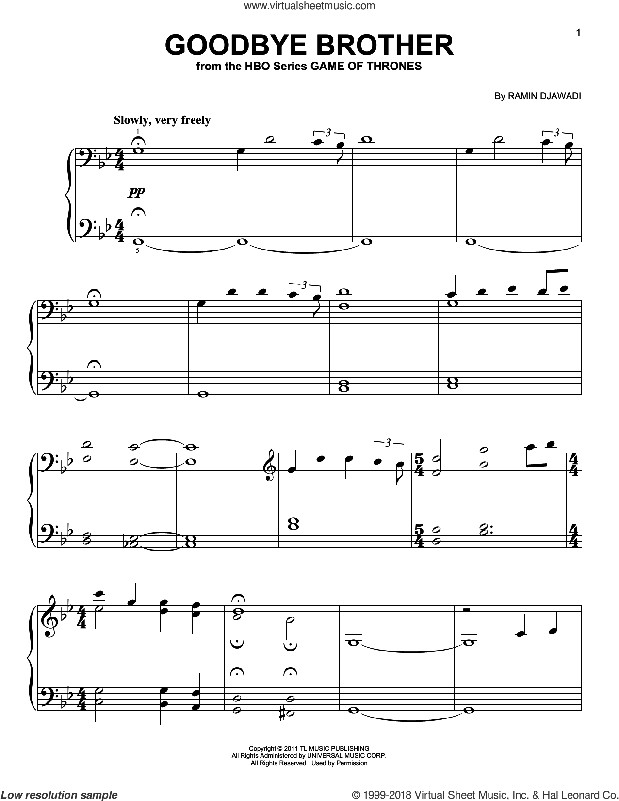 Goodbye Brother (from Game of Thrones) sheet music for piano solo by Ramin Djawadi, classical score, easy skill level