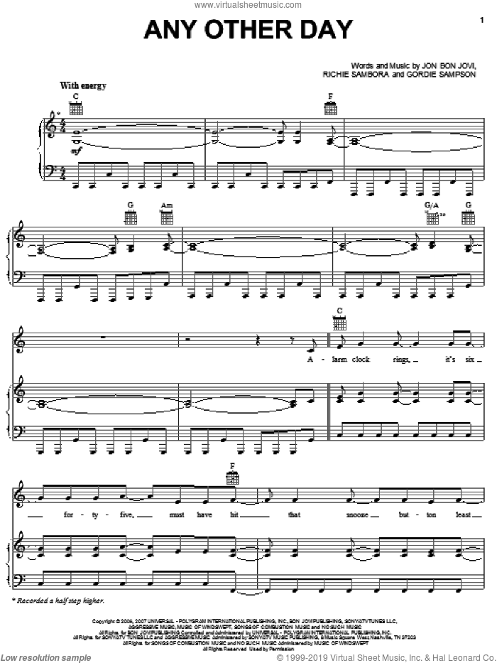 Any Other Day sheet music for voice, piano or guitar by Bon Jovi, Gordie Sampson and Richie Sambora, intermediate voice, piano or guitar. Score Image Preview.
