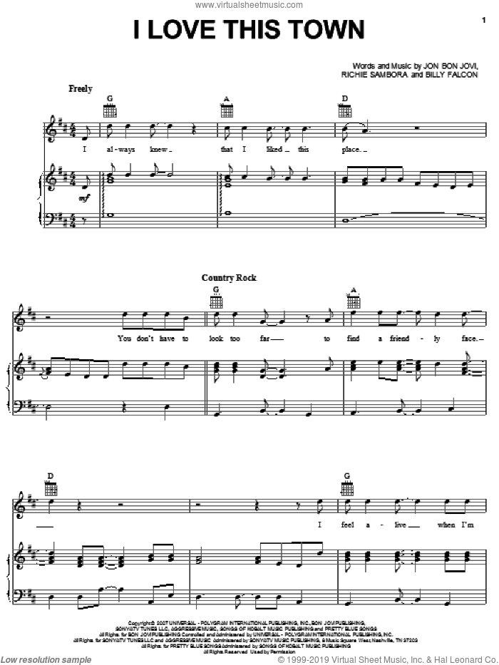 I Love This Town sheet music for voice, piano or guitar by Bon Jovi, Billy Falcon and Richie Sambora, intermediate skill level