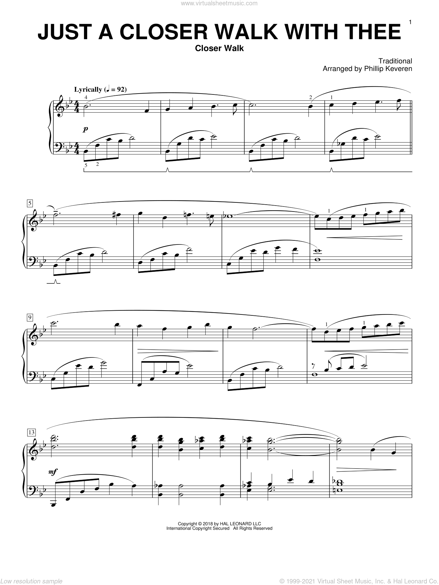Just A Closer Walk With Thee [Classical version] (arr. Phillip Keveren) sheet music for piano solo by Phillip Keveren, Kenneth Morris and Miscellaneous, classical score, intermediate skill level