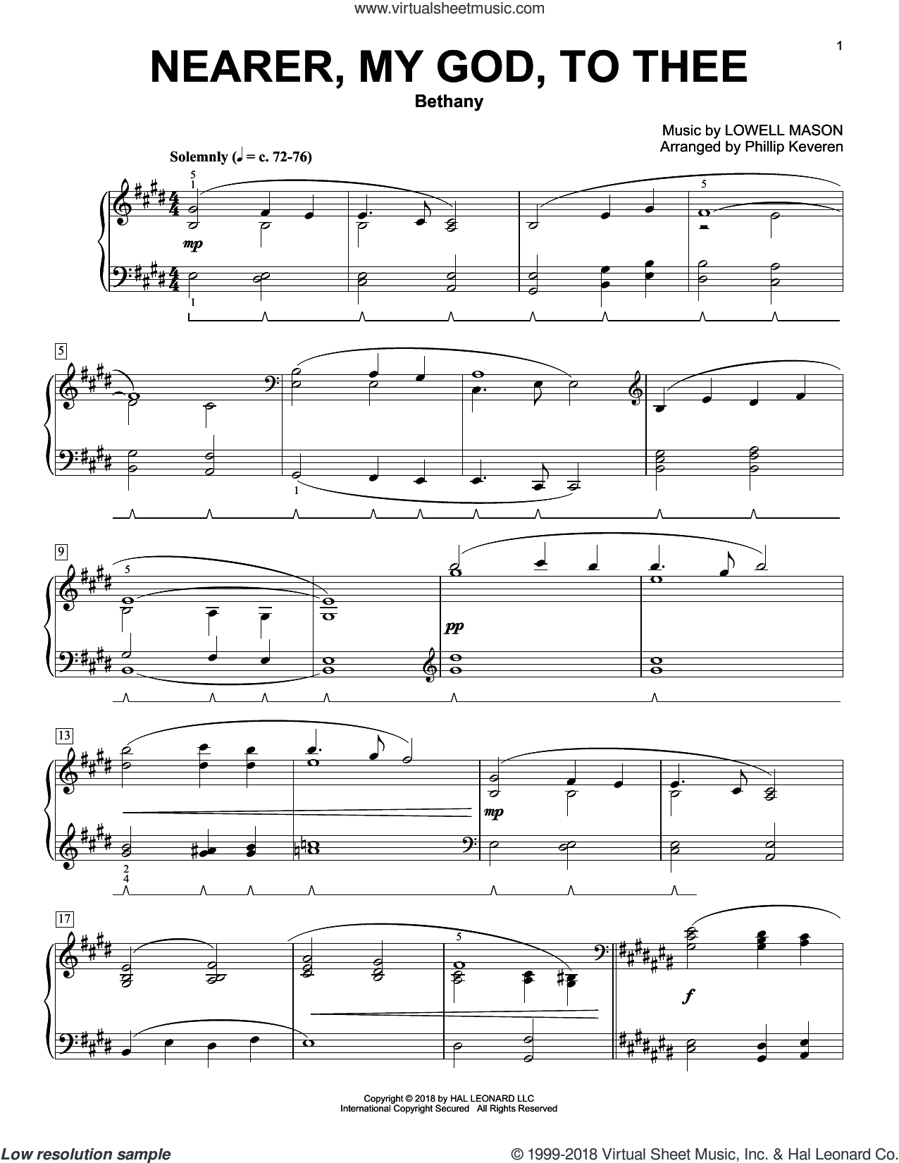 Nearer, My God, To Thee sheet music for piano solo by Lowell Mason, Phillip Keveren, Genesis 28:10-22 and Sarah F. Adams, classical score, intermediate skill level