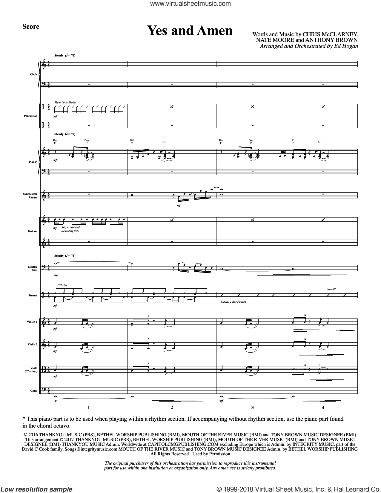 Yes and Amen (COMPLETE) sheet music for orchestra/band by Ed Hogan, Anthony Brown, Chris McClarney, Chris Tomlin and Nate Moore, intermediate skill level