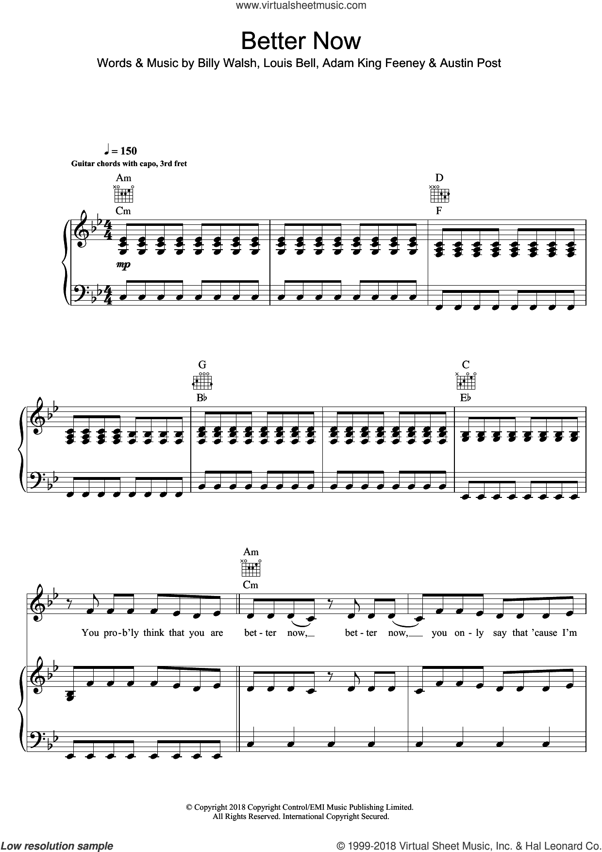 Better Now sheet music for voice, piano or guitar by Post Malone, Adam King Feeney, Austin Post, Billy Walsh and Louis Bell, intermediate skill level