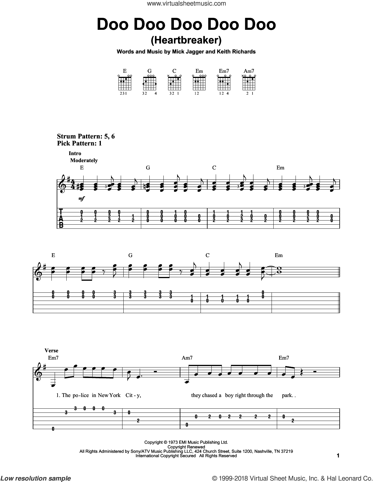 Doo Doo Doo Doo Doo (Heartbreaker) sheet music for guitar solo (easy tablature) by The Rolling Stones, Keith Richards and Mick Jagger, easy guitar (easy tablature)