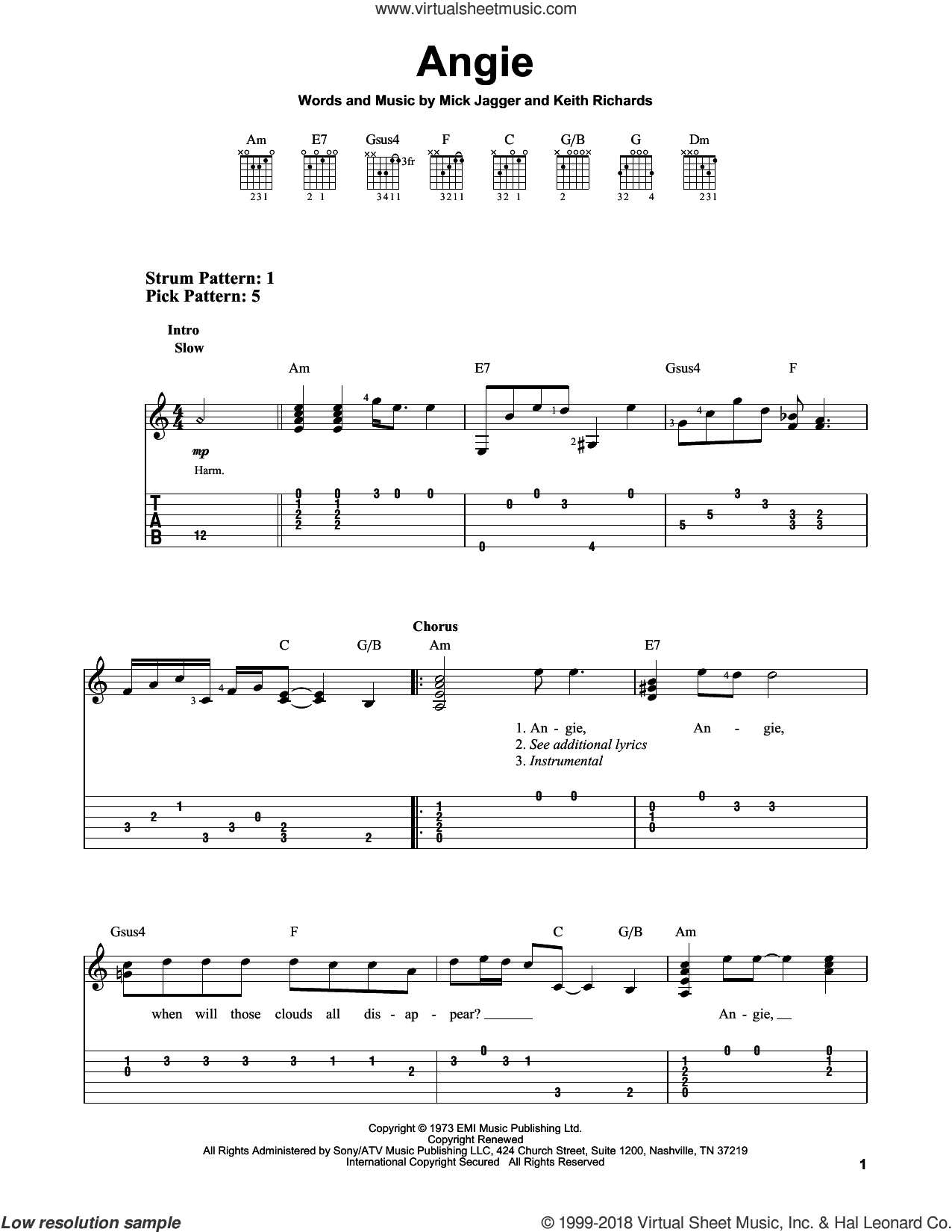 Angie sheet music for guitar solo (easy tablature) by The Rolling Stones, Keith Richards and Mick Jagger, easy guitar (easy tablature)