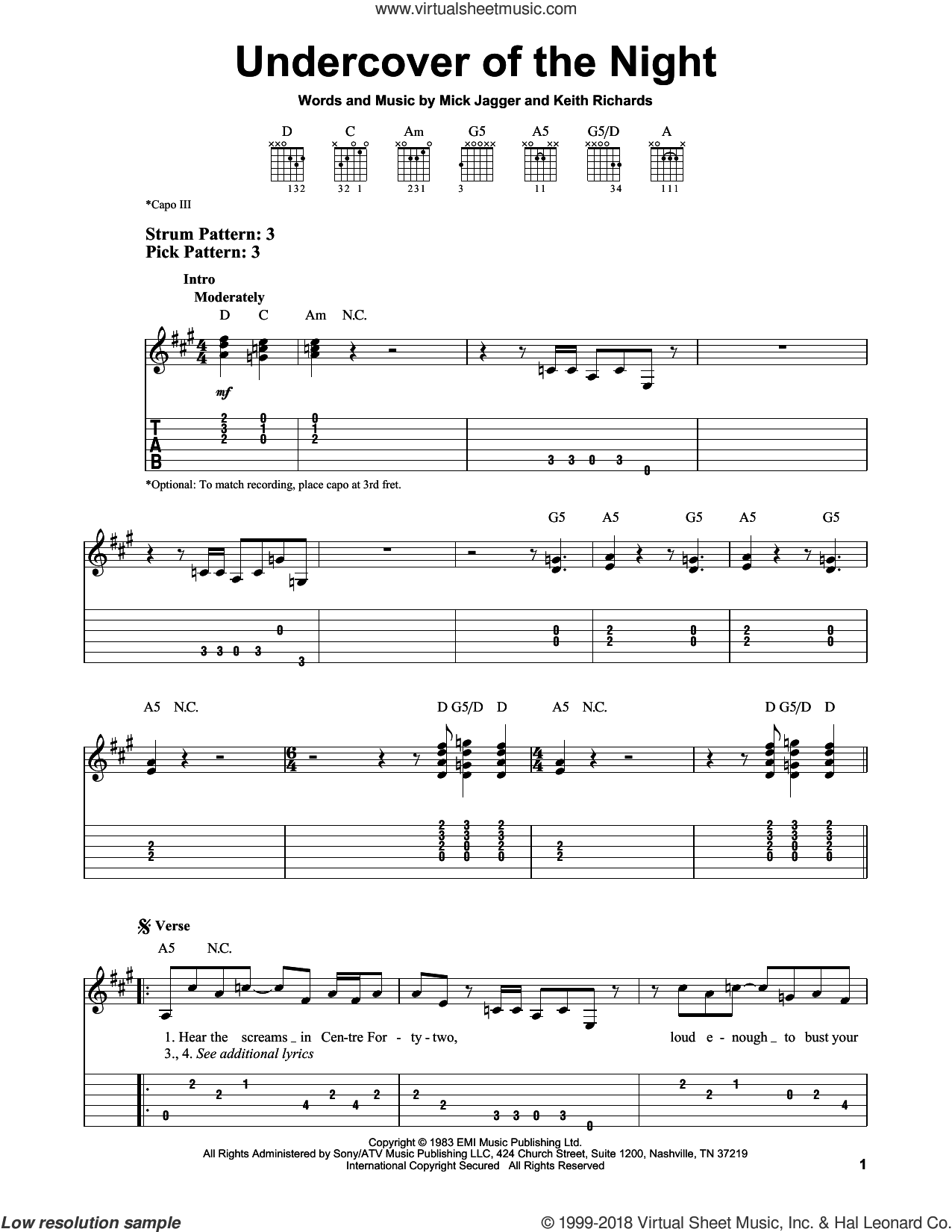 Undercover Of The Night sheet music for guitar solo (easy tablature) by The Rolling Stones, Keith Richards and Mick Jagger, easy guitar (easy tablature)