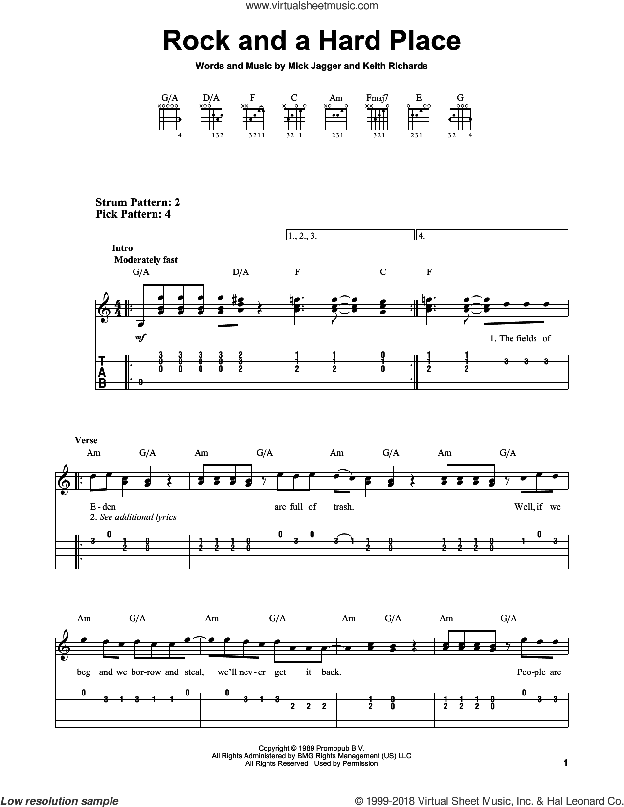 Rock And A Hard Place sheet music for guitar solo (easy tablature) by The Rolling Stones, Keith Richards and Mick Jagger, easy guitar (easy tablature)
