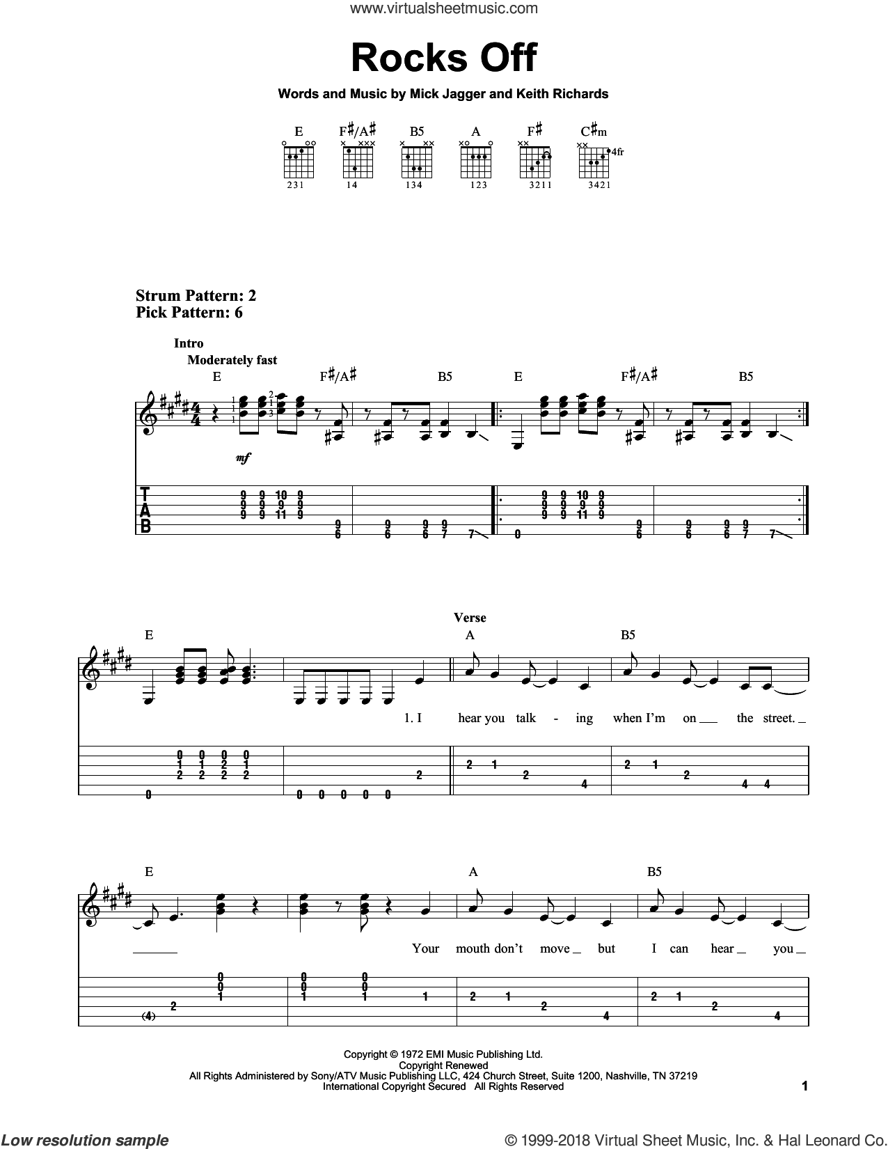 Rocks Off sheet music for guitar solo (easy tablature) by The Rolling Stones, Keith Richards and Mick Jagger, easy guitar (easy tablature)