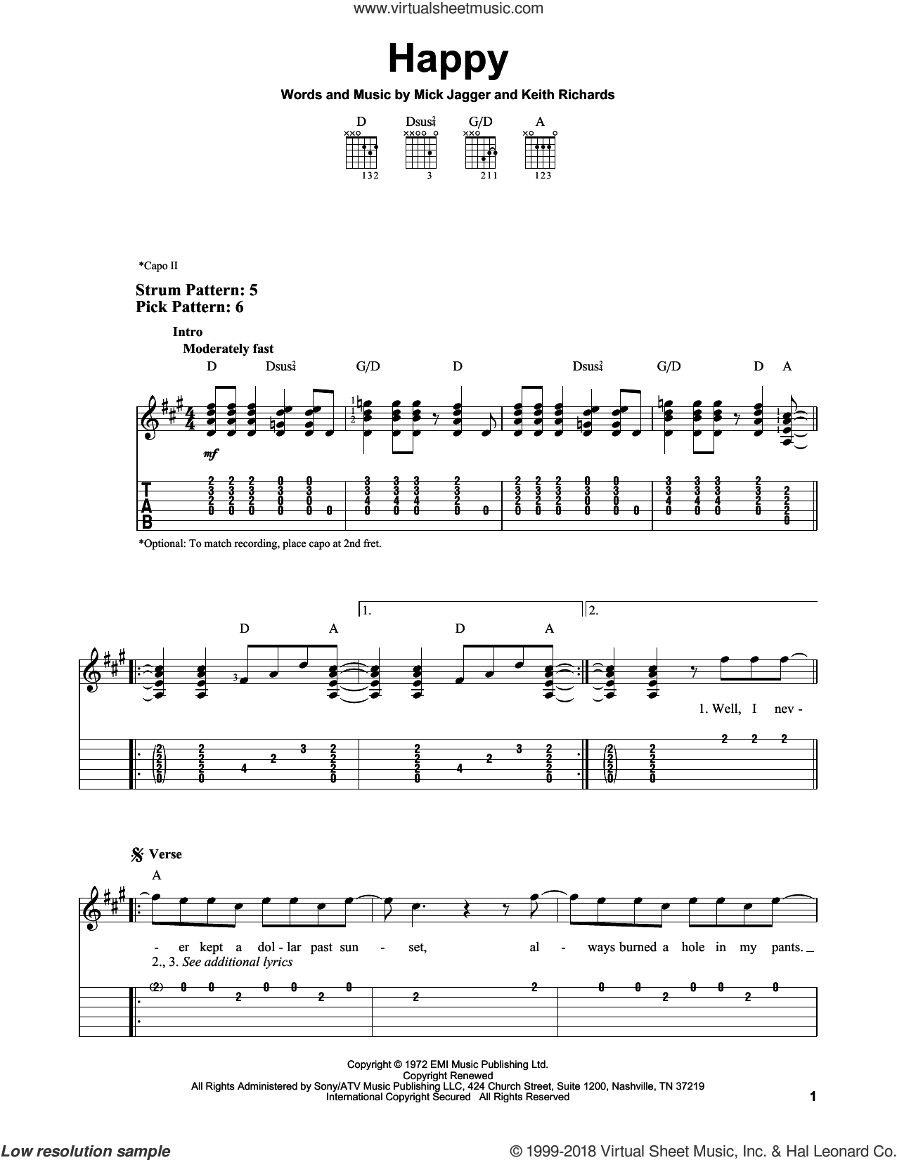Happy sheet music for guitar solo (easy tablature) by The Rolling Stones, Keith Richards and Mick Jagger, easy guitar (easy tablature)