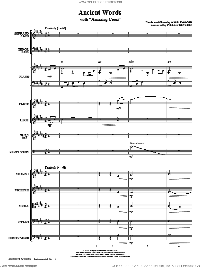 Ancient Words (with Amazing Grace) (COMPLETE) sheet music for orchestra/band (chamber ensemble) by John Newton, Edwin O. Excell, Lynn DeShazo, Miscellaneous and Phillip Keveren, intermediate skill level