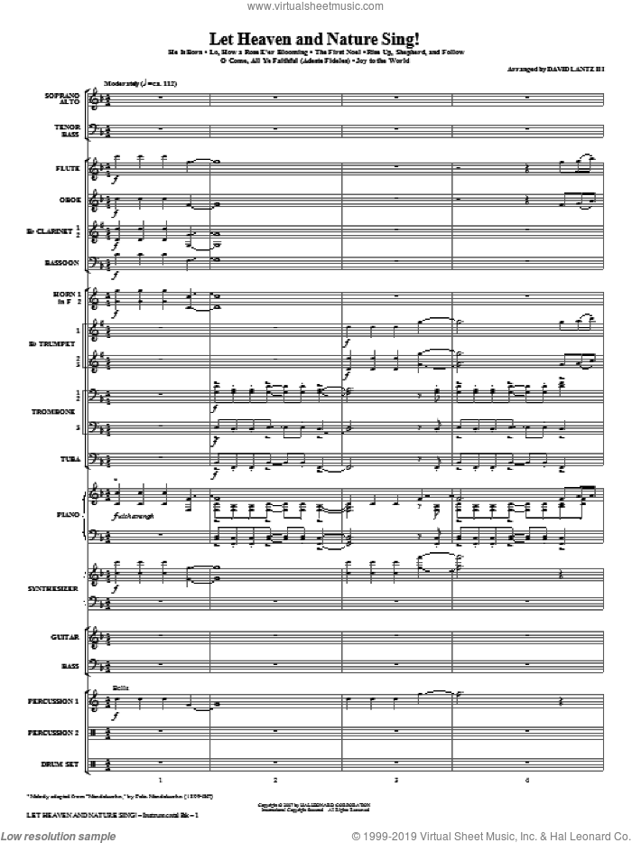 Let Heaven And Nature Sing! (COMPLETE) sheet music for orchestra/band (Orchestra) by David Lantz, 14th Century German Melody and Miscellaneous, intermediate. Score Image Preview.