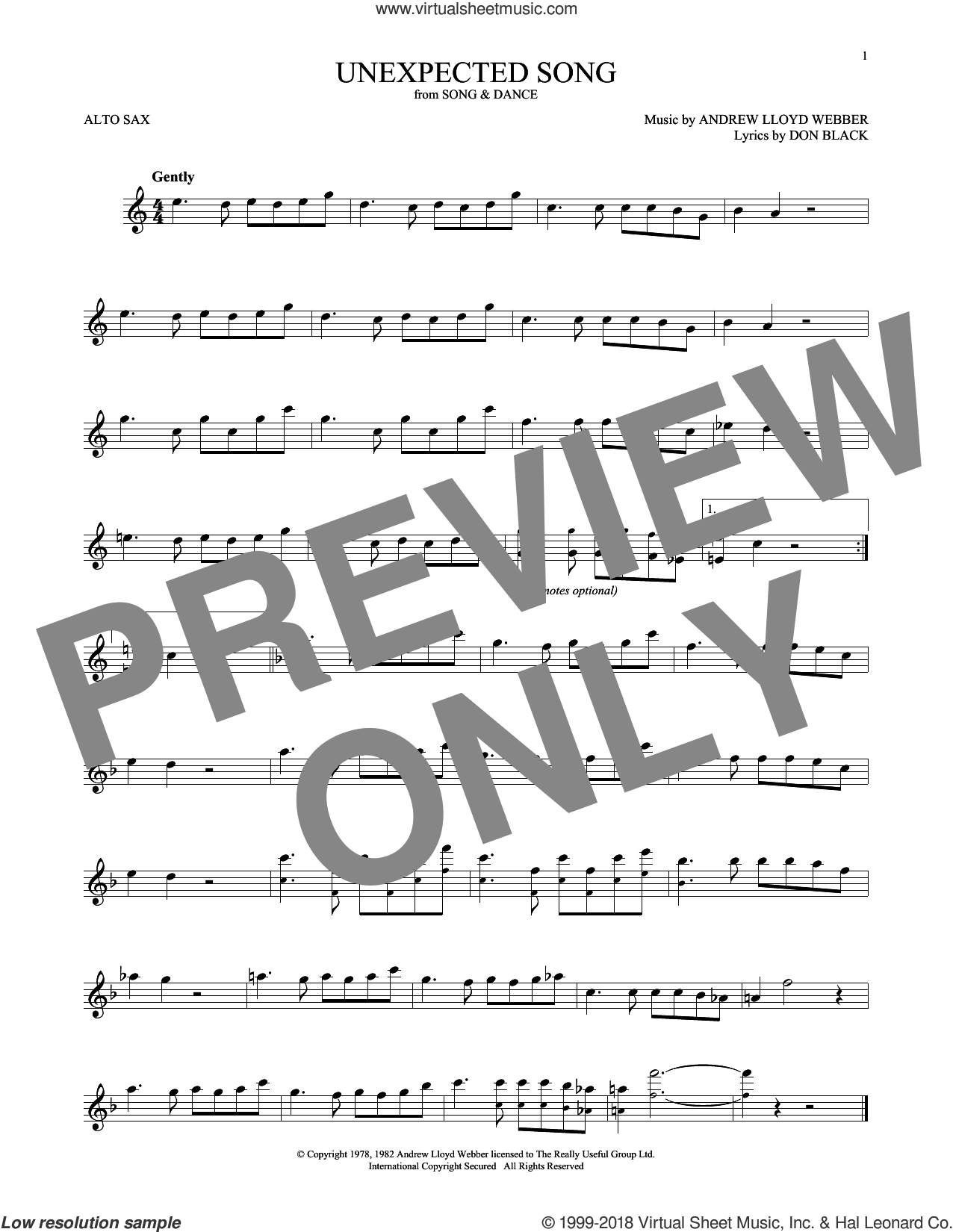 Unexpected Song (from Song and Dance) sheet music for alto saxophone solo by Andrew Lloyd Webber, Bernadette Peters, Michael Crawford and Don Black, intermediate skill level