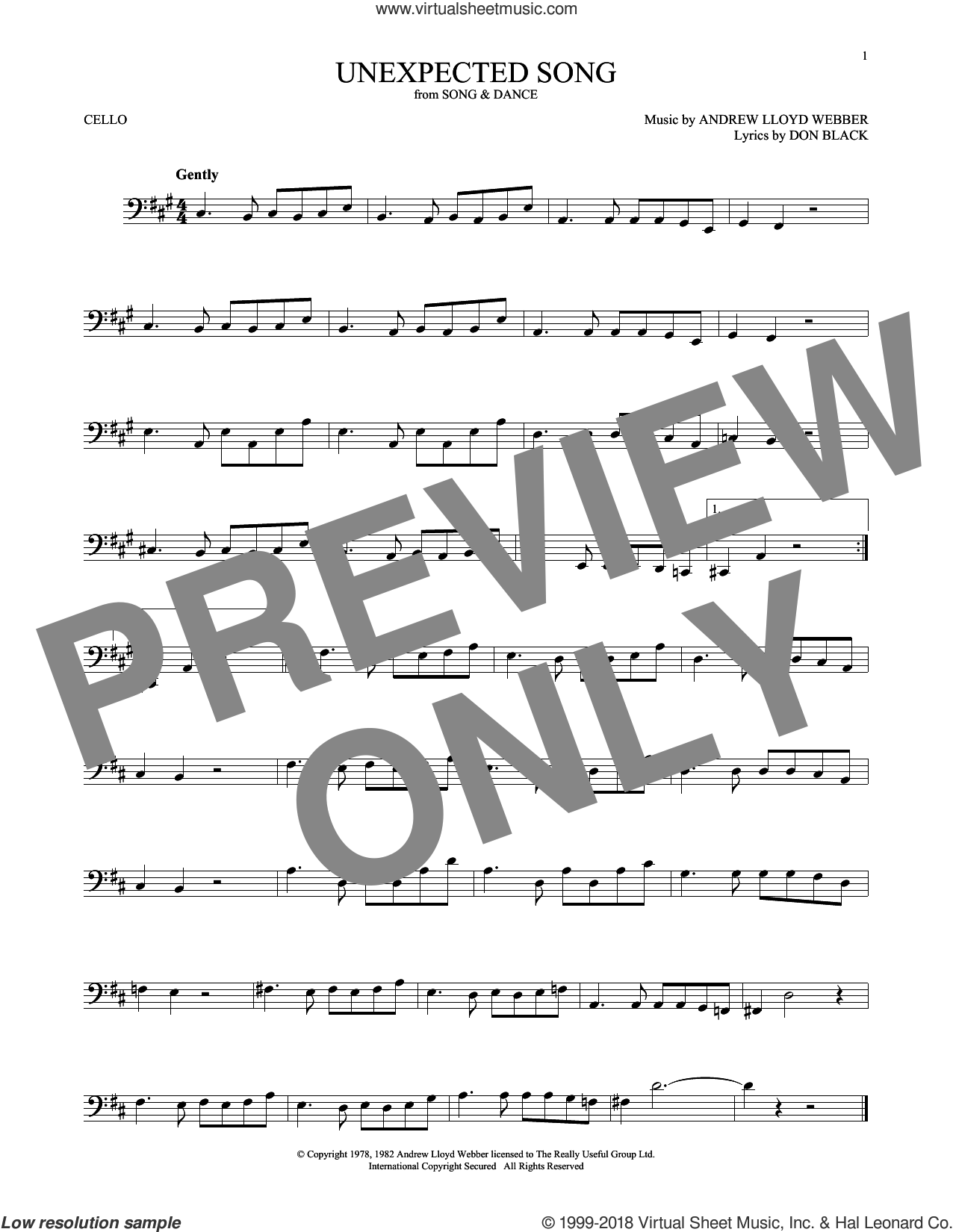 Unexpected Song (from Song and Dance) sheet music for cello solo by Andrew Lloyd Webber, Bernadette Peters, Michael Crawford and Don Black, intermediate skill level
