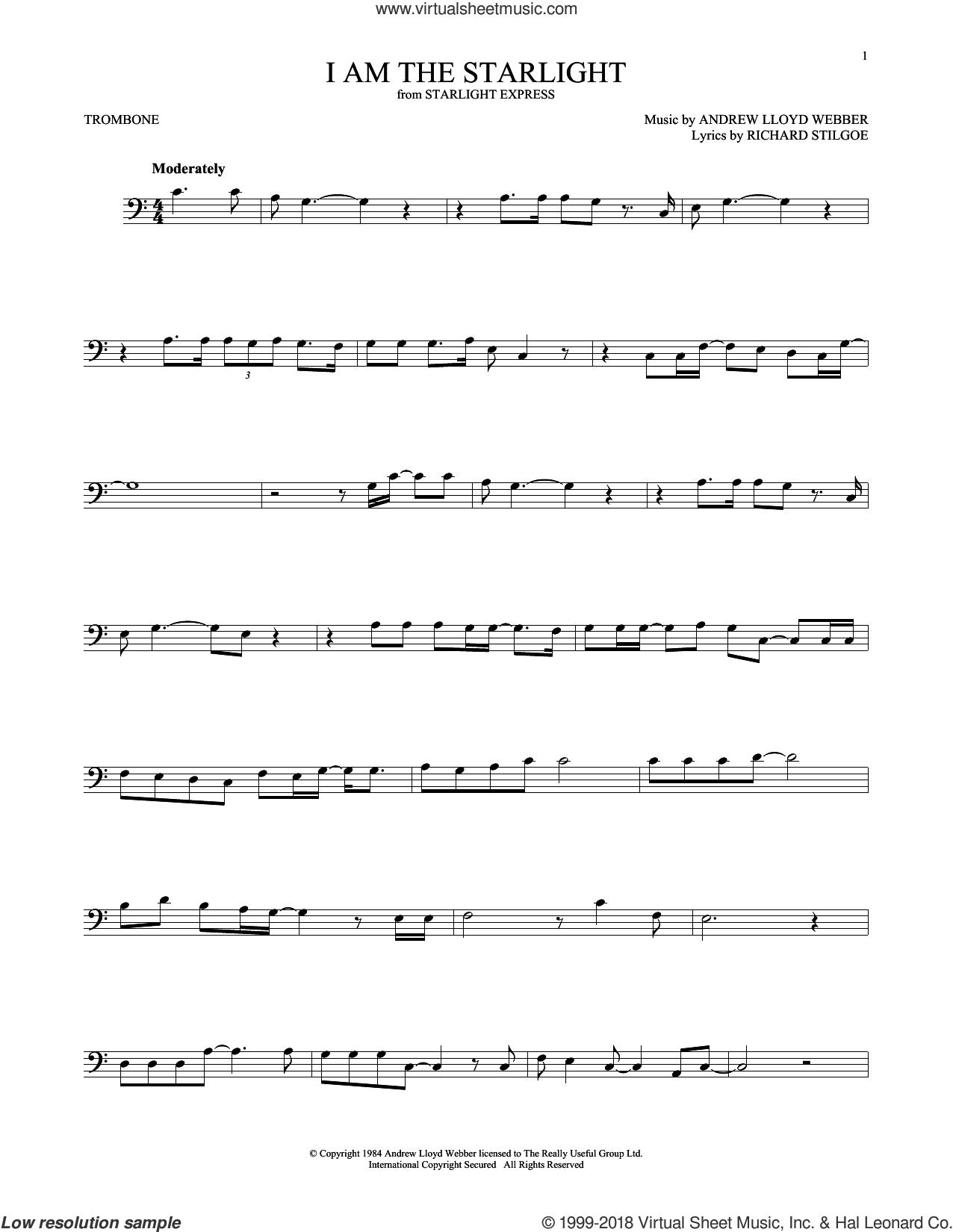 I Am The Starlight sheet music for trombone solo by Andrew Lloyd Webber and Richard Stilgoe, intermediate skill level