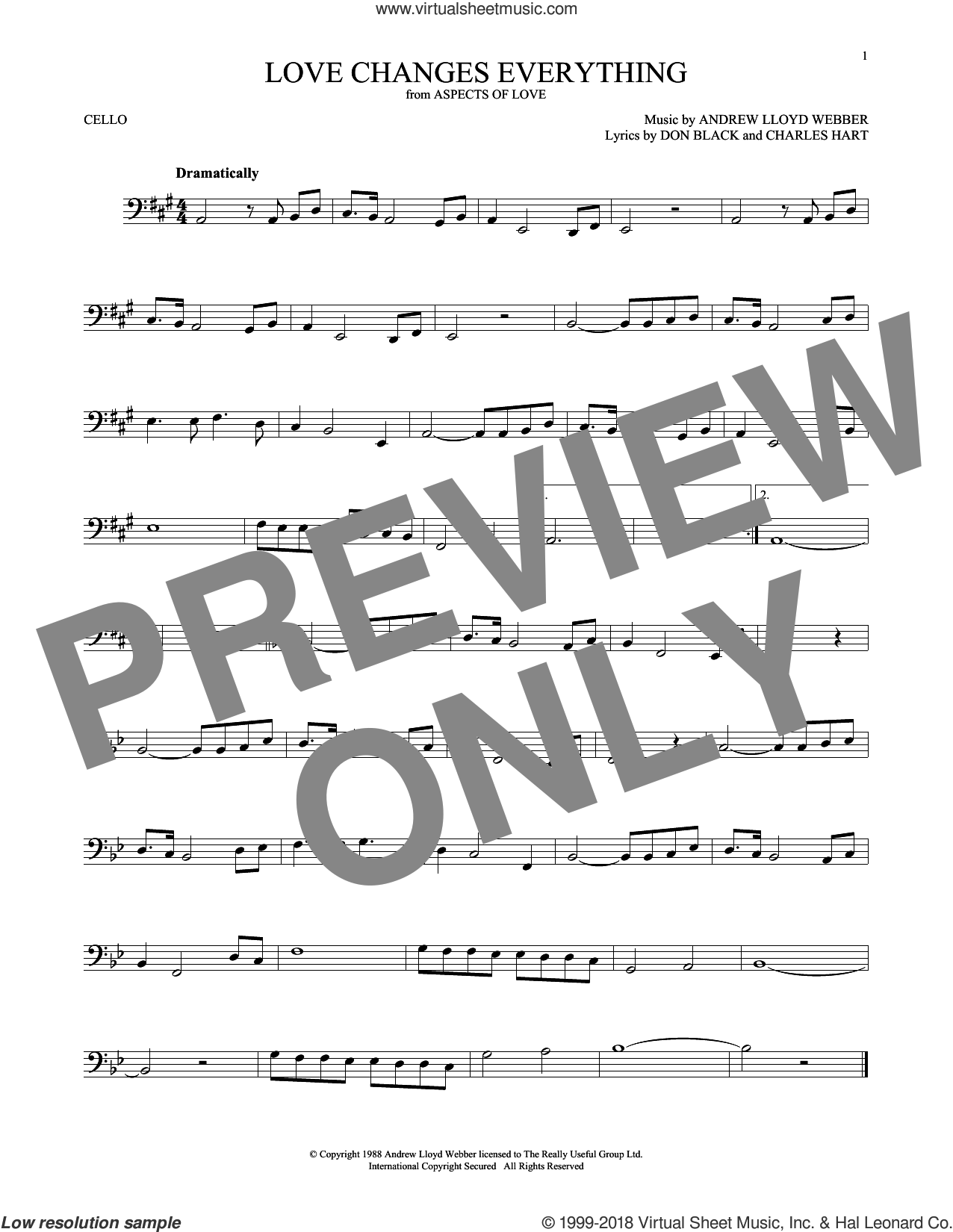 Love Changes Everything (from Aspects of Love) sheet music for cello solo by Andrew Lloyd Webber, Charles Hart and Don Black, intermediate skill level