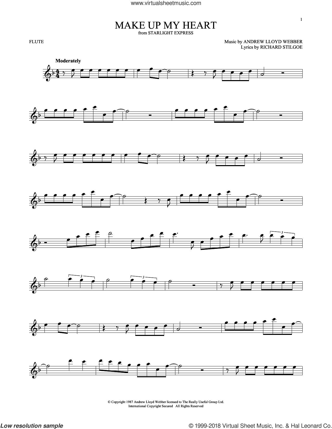 Make Up My Heart sheet music for flute solo by Andrew Lloyd Webber and Richard Stilgoe, intermediate skill level