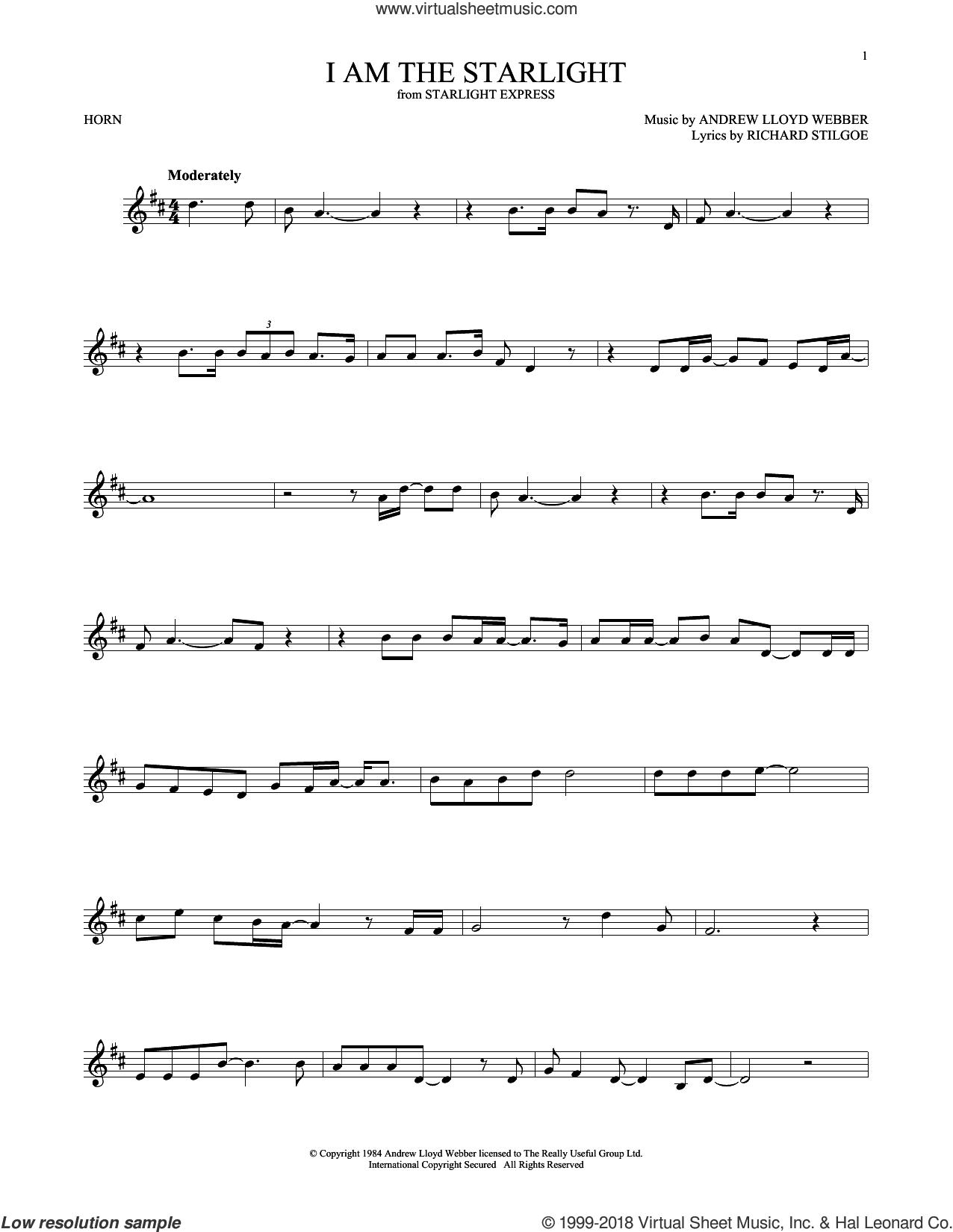 I Am The Starlight sheet music for horn solo by Andrew Lloyd Webber and Richard Stilgoe, intermediate skill level
