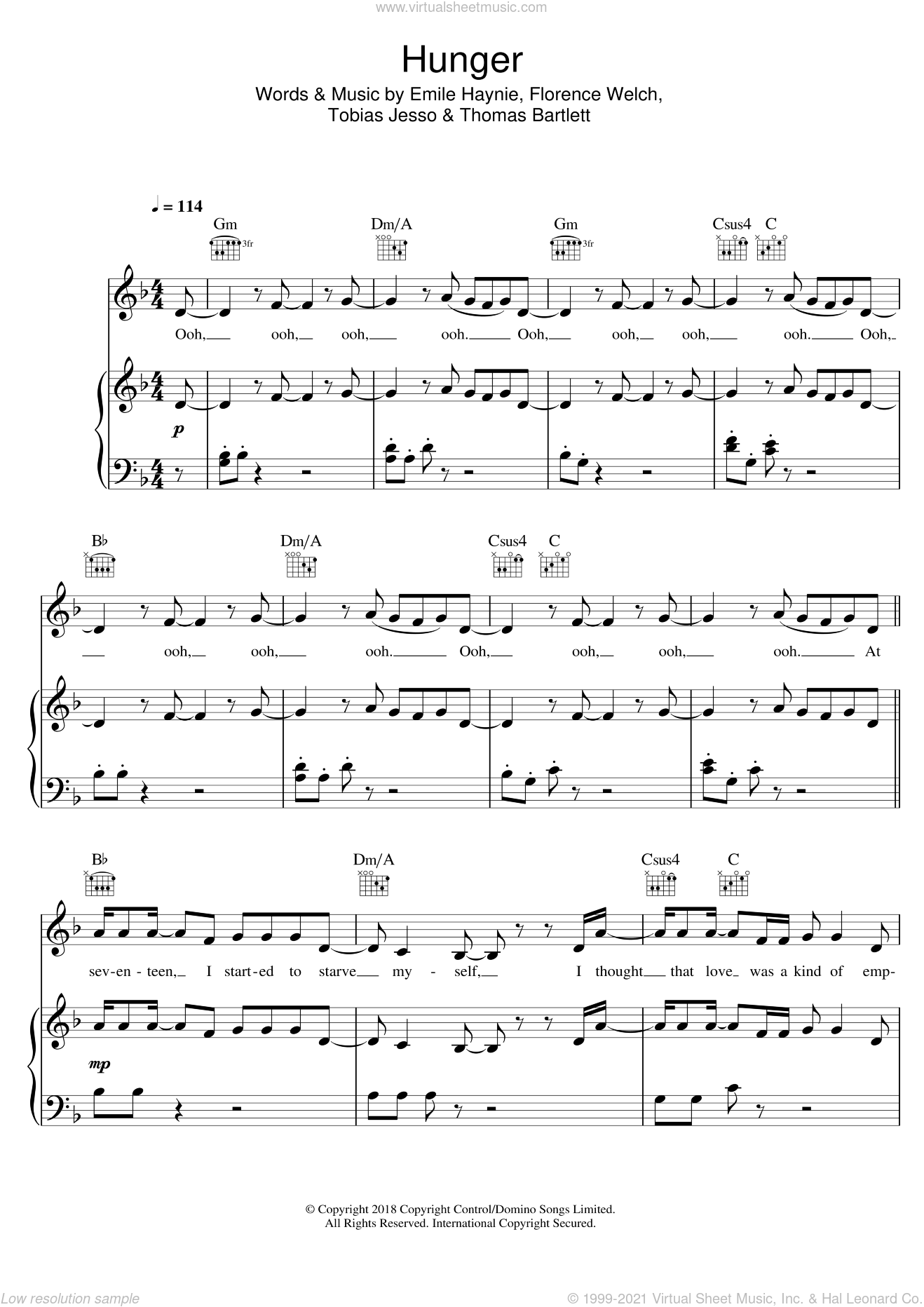 Hunger sheet music for voice, piano or guitar by Emile Haynie, Florence + The Machine, Florence And The  Machine, Florence Welch, Thomas Bartlett and Tobias Jesso, intermediate skill level