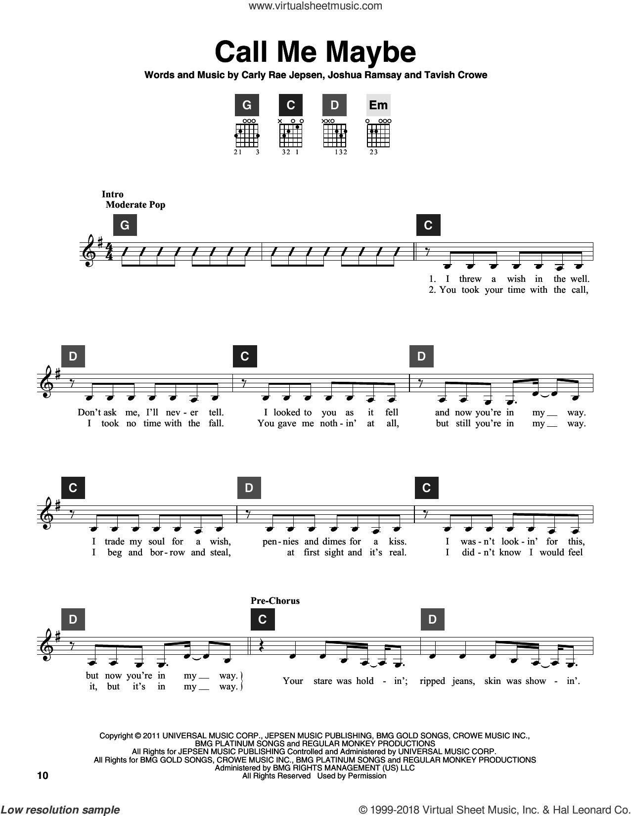 Call Me Maybe sheet music for guitar solo (ChordBuddy system) by Carly Rae Jepsen, Joshua Ramsay and Tavish Crowe, intermediate guitar (ChordBuddy system)