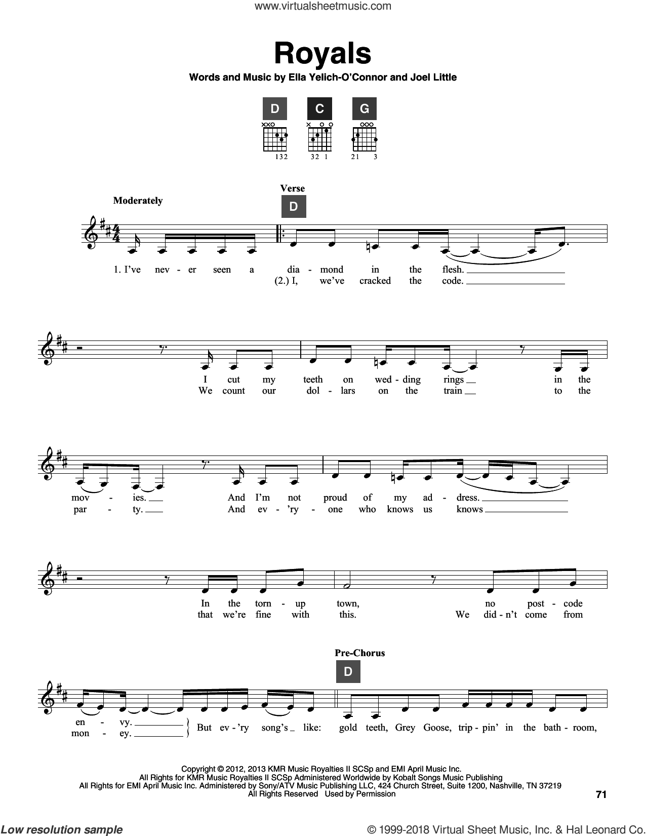 Royals sheet music for guitar solo (ChordBuddy system) by Lorde and Joel Little, intermediate guitar (ChordBuddy system)