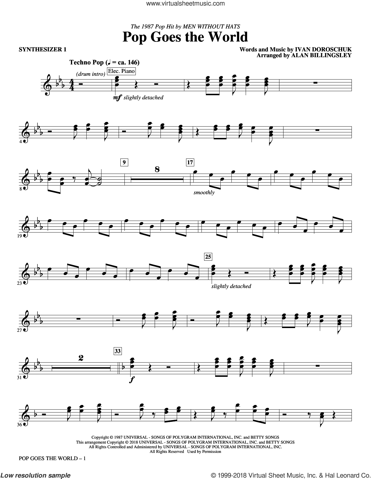 Pop Goes the World (complete set of parts) sheet music for orchestra/band by Alan Billingsley, Ivan Doroschuk and Men Without Hats, intermediate skill level