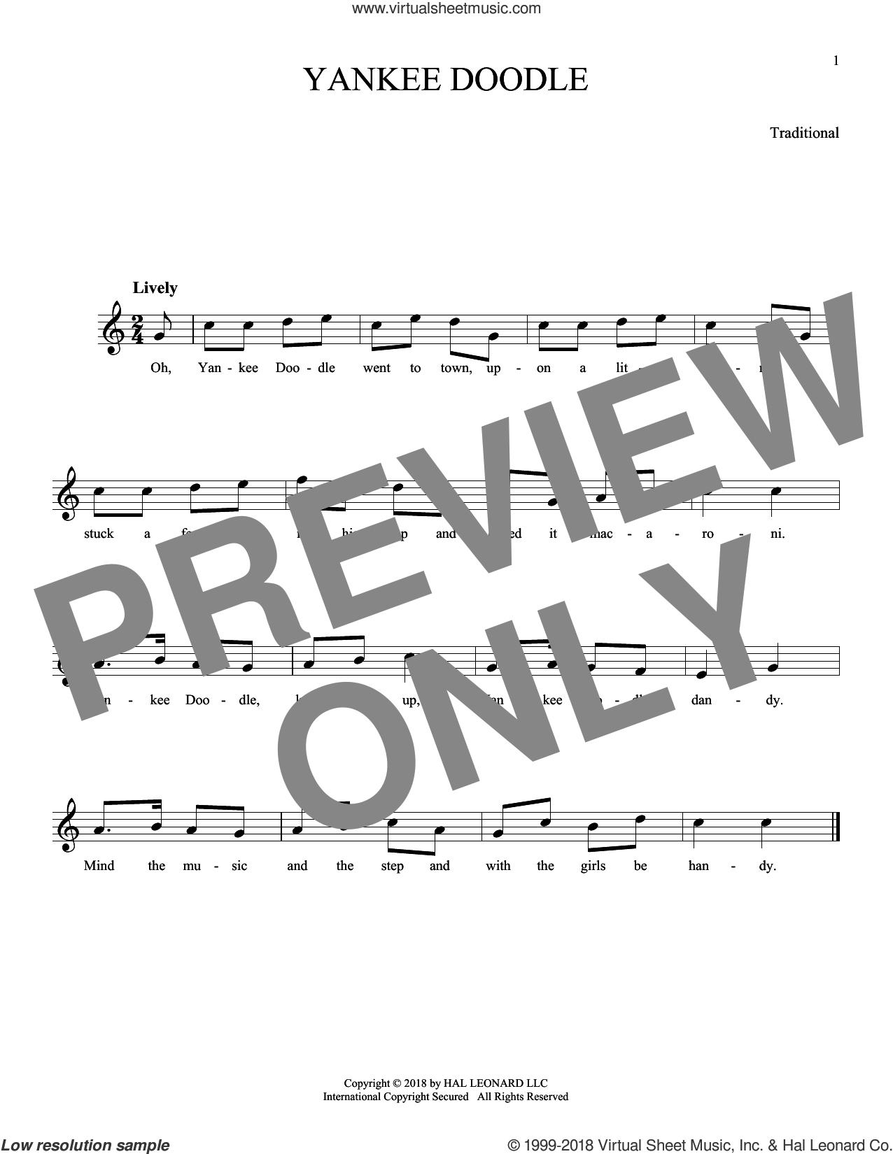 Yankee Doodle sheet music for ocarina solo, intermediate skill level