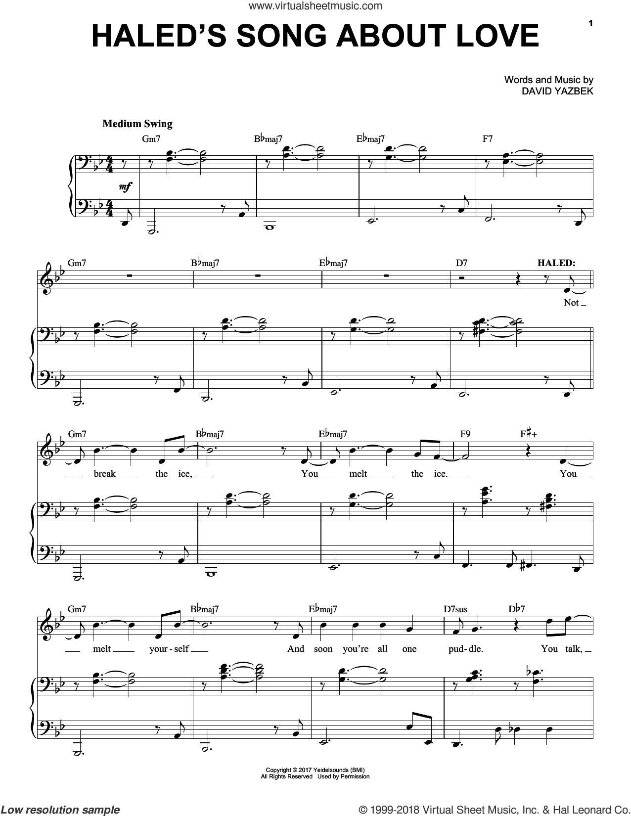 Haled's Song About Love sheet music for voice and piano by David Yazbek, intermediate skill level