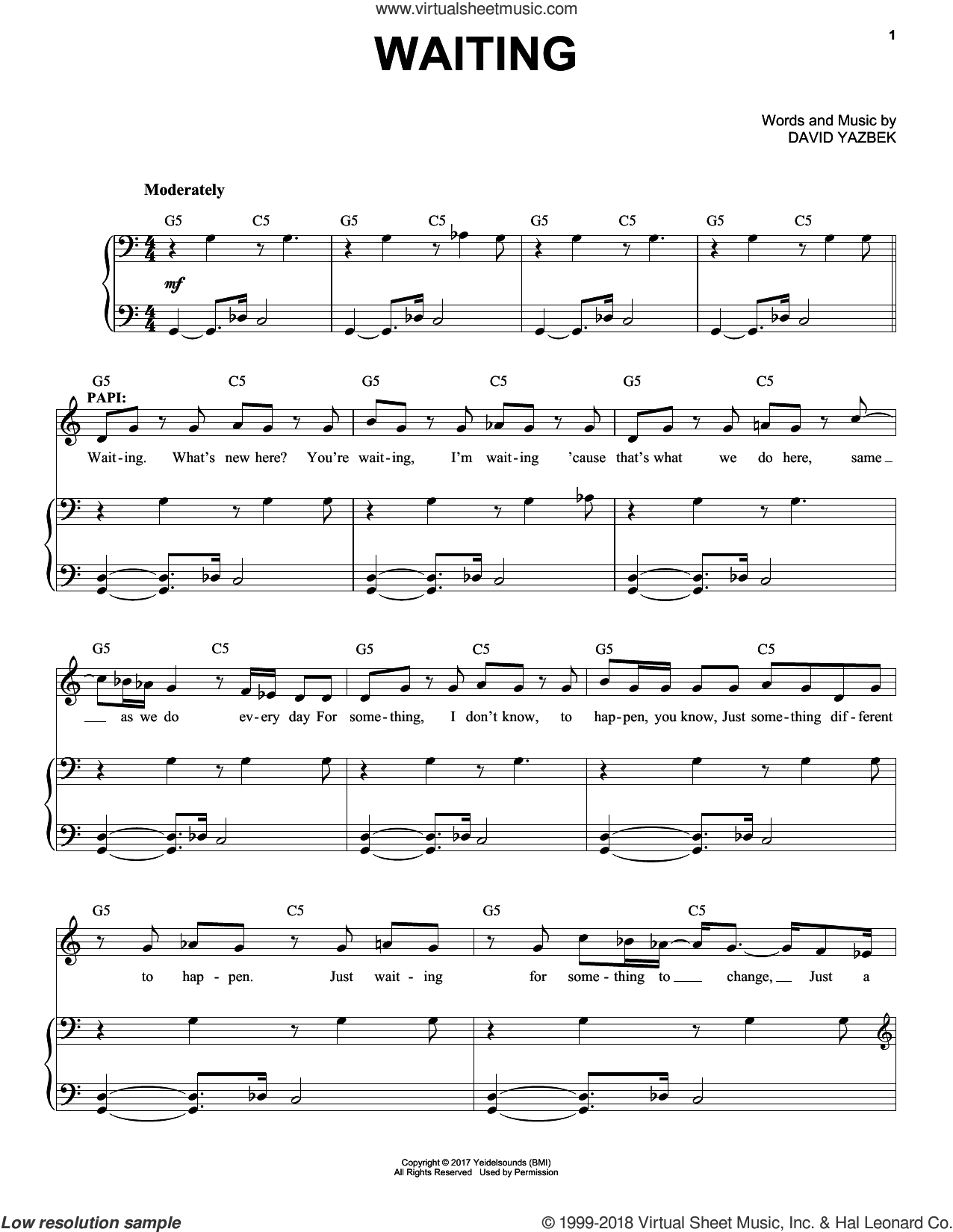 Waiting sheet music for voice and piano by David Yazbek, intermediate skill level