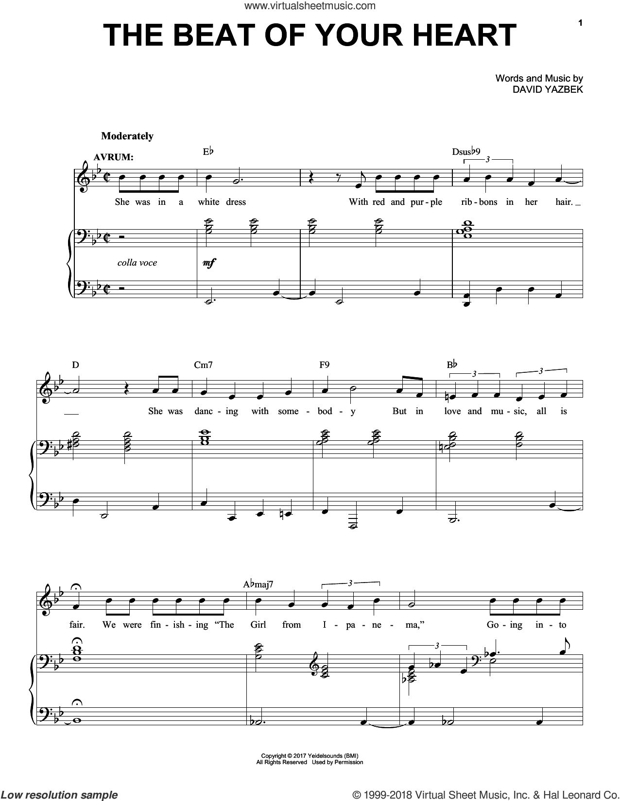 The Beat Of Your Heart sheet music for voice and piano by David Yazbek, intermediate skill level