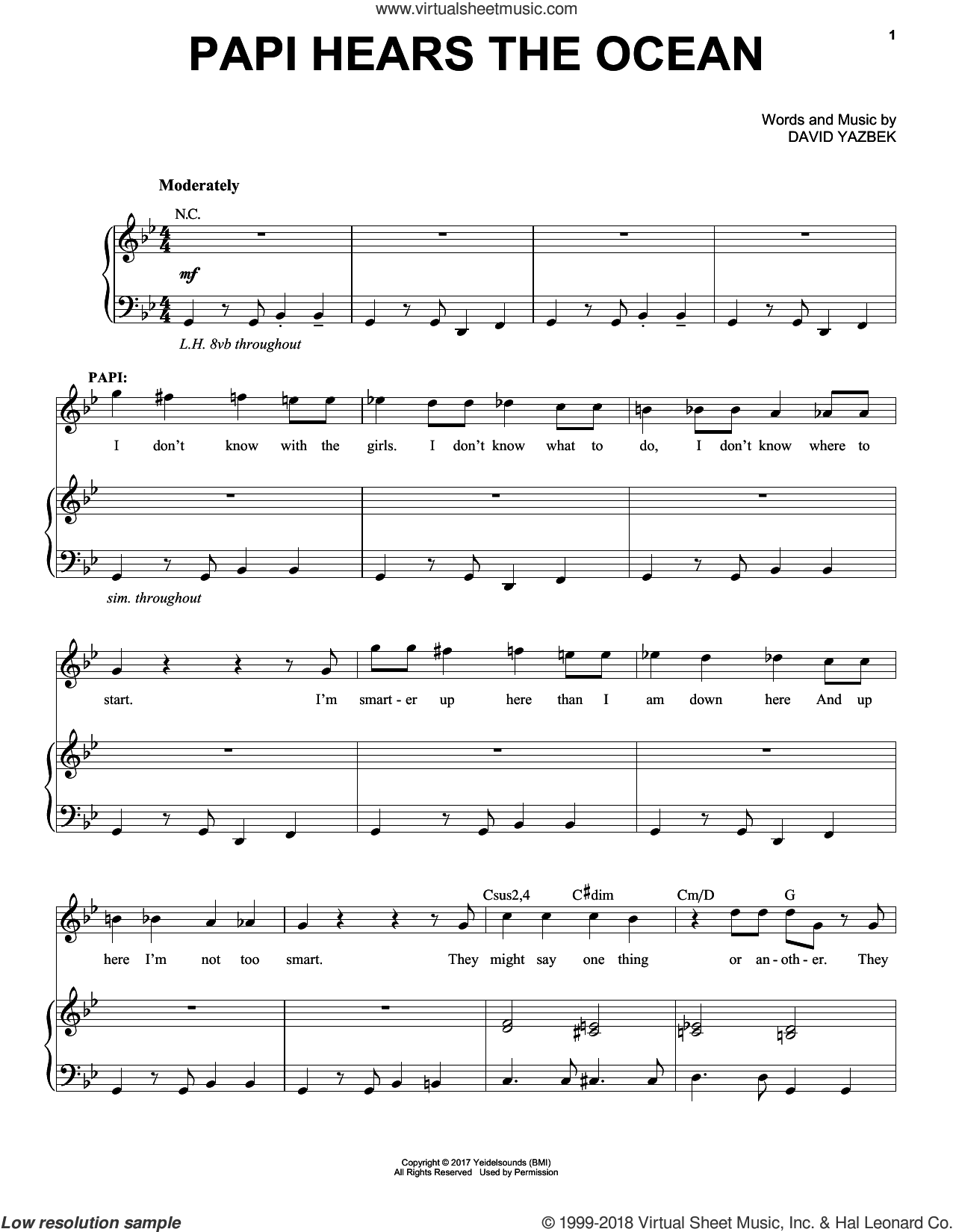Papi Hears The Ocean sheet music for voice and piano by David Yazbek, intermediate skill level