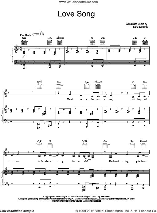 Love Song sheet music for voice, piano or guitar by Sara Bareilles. Score Image Preview.