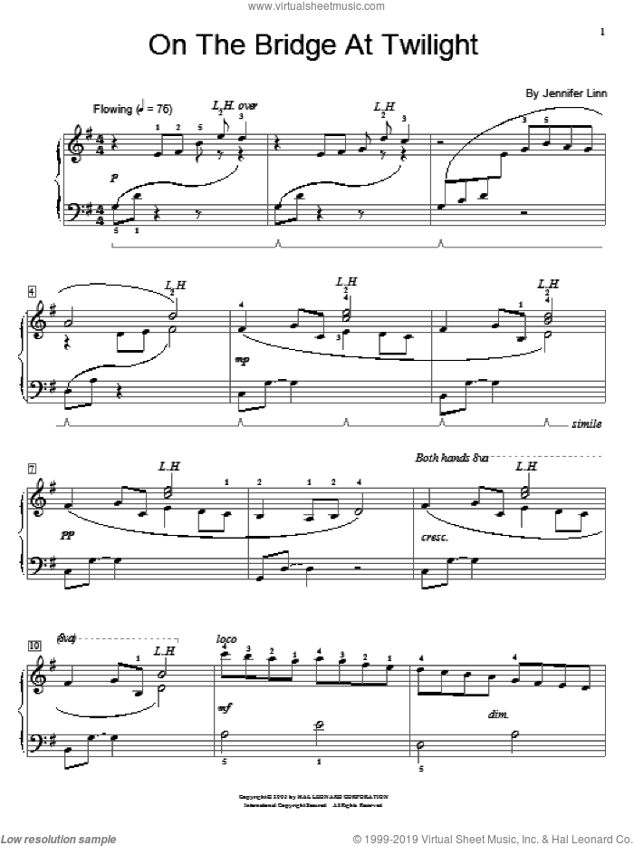On The Bridge At Twilight sheet music for piano solo (elementary) by Jennifer Linn and Miscellaneous, beginner piano (elementary)