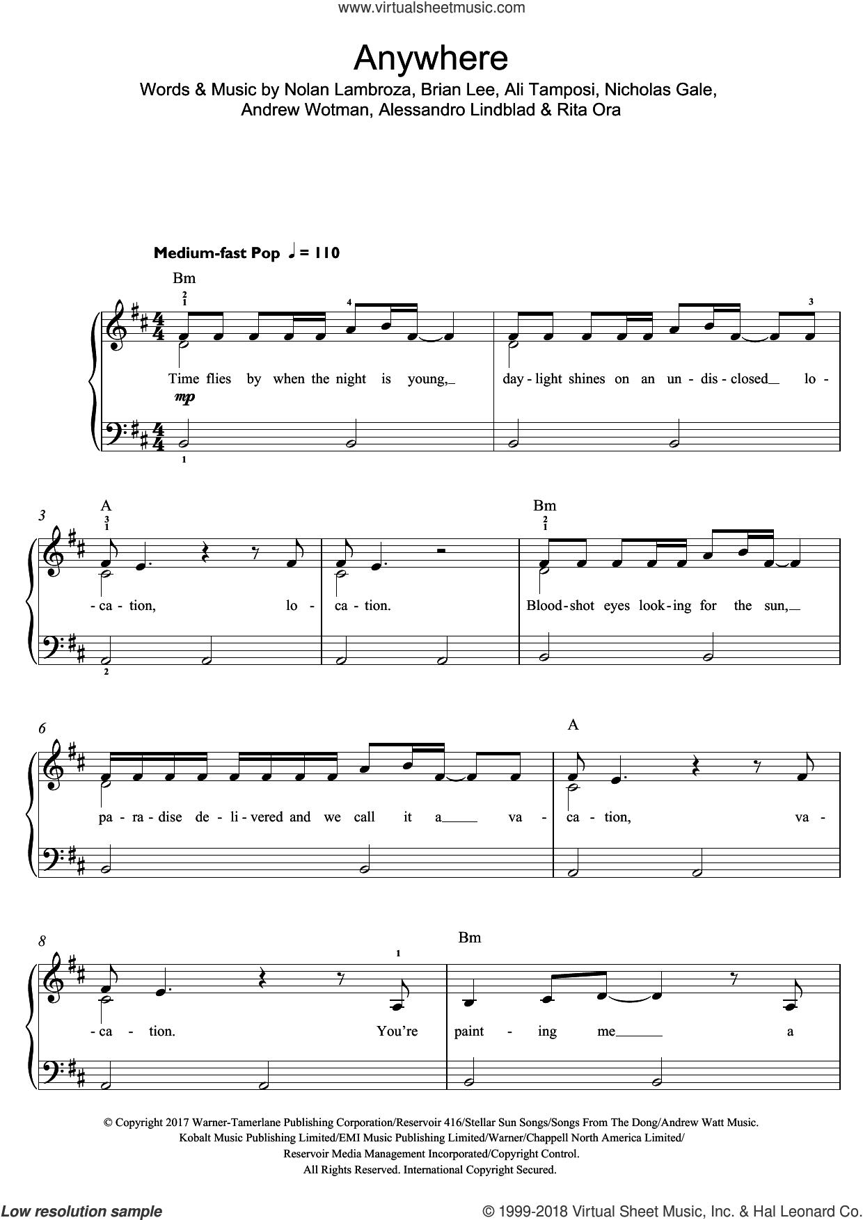 Anywhere sheet music for piano solo (beginners) by Rita Ora, Alessandro Lindblad, Ali Tamposi, Andrew Wotman, Brian Lee, Nicholas Gale and Nolan Lambroza, beginner piano (beginners)