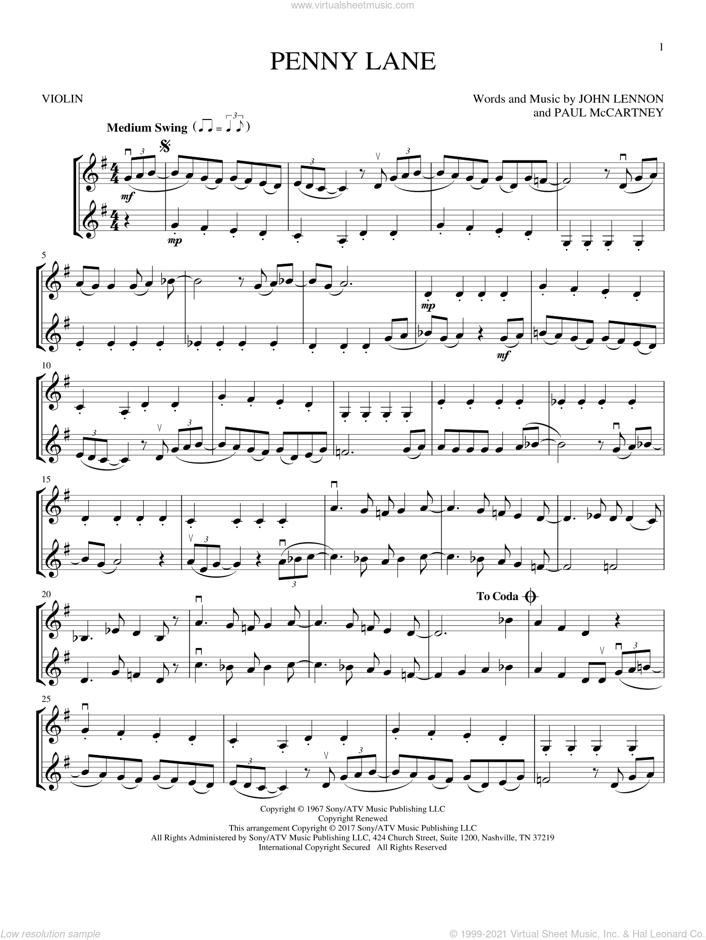 Penny Lane sheet music for two violins (duets, violin duets) by The Beatles, John Lennon and Paul McCartney, intermediate skill level