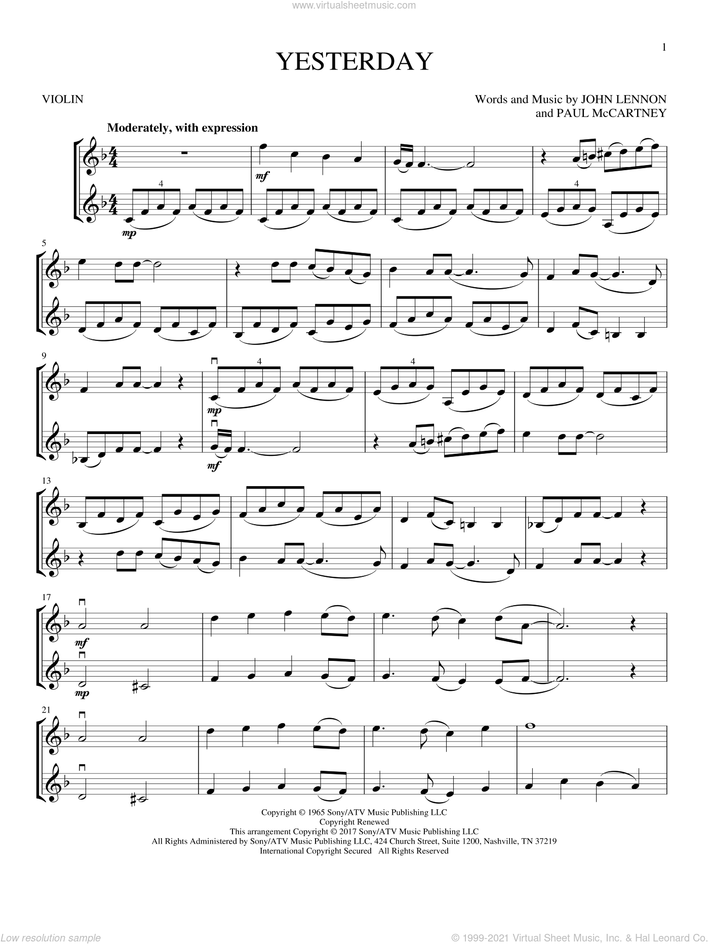 Yesterday sheet music for two violins (duets, violin duets) by The Beatles, John Lennon and Paul McCartney, intermediate skill level