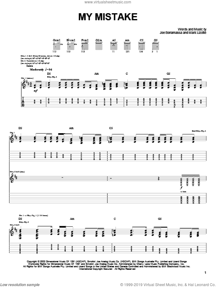 My Mistake sheet music for guitar (tablature) by Joe Bonamassa, intermediate guitar (tablature). Score Image Preview.