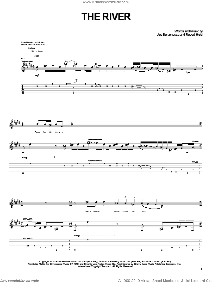 The River sheet music for guitar (tablature) by Robert Held and Joe Bonamassa. Score Image Preview.