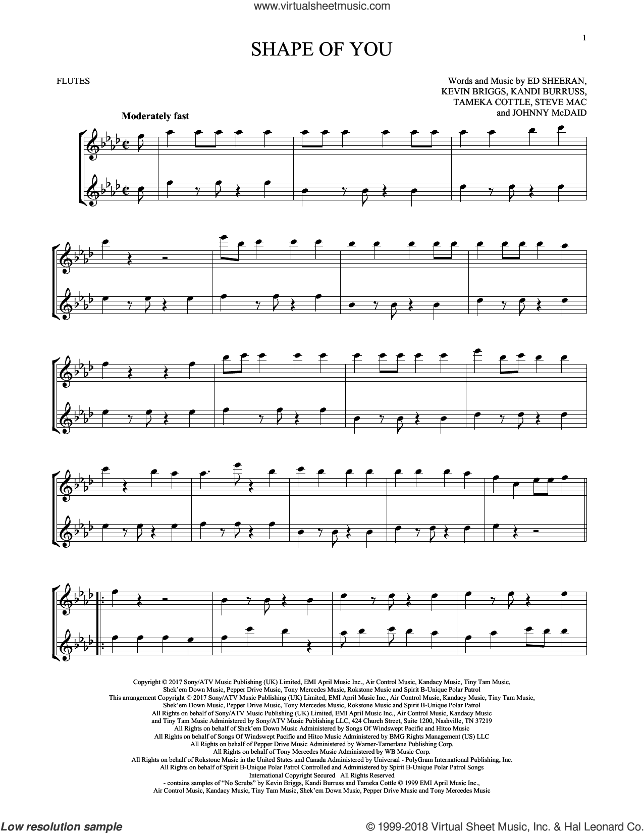 Shape Of You sheet music for two flutes (duets) by Ed Sheeran, Johnny McDaid, Kandi Burruss, Kevin Briggs, Steve Mac and Tameka Cottle, intermediate skill level