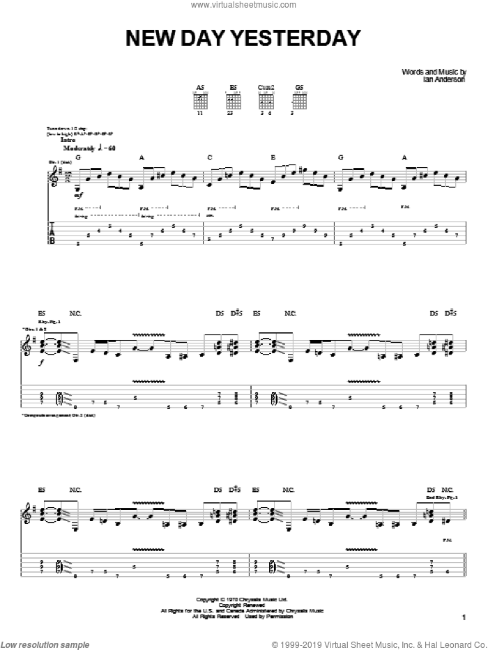 New Day Yesterday sheet music for guitar (tablature) by Joe Bonamassa and Jethro Tull, intermediate. Score Image Preview.