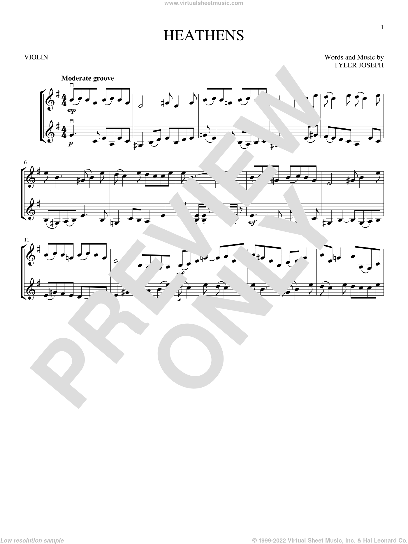 Heathens sheet music for two violins (duets, violin duets) by Twenty One Pilots and Tyler Joseph, intermediate skill level